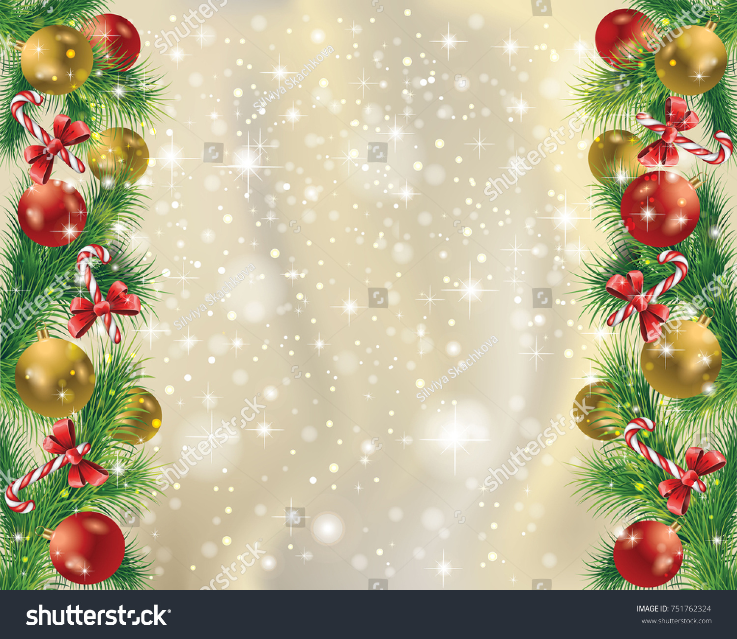 Elegant Gold Christmas Background Christmas Toys Stock Vector ...
