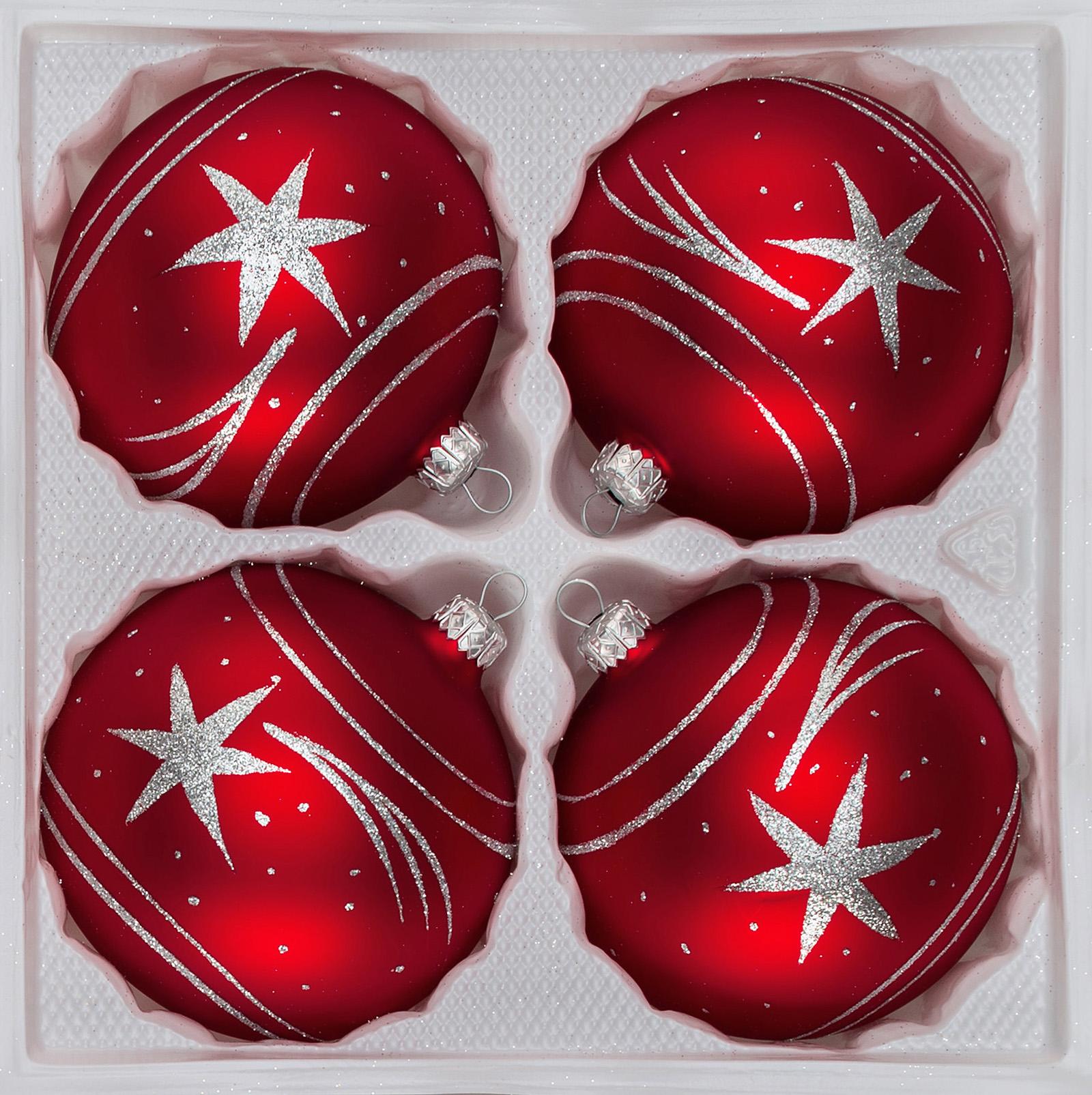 4 pcs. Glass Christmas Balls Set 3,93 Inches Ø in