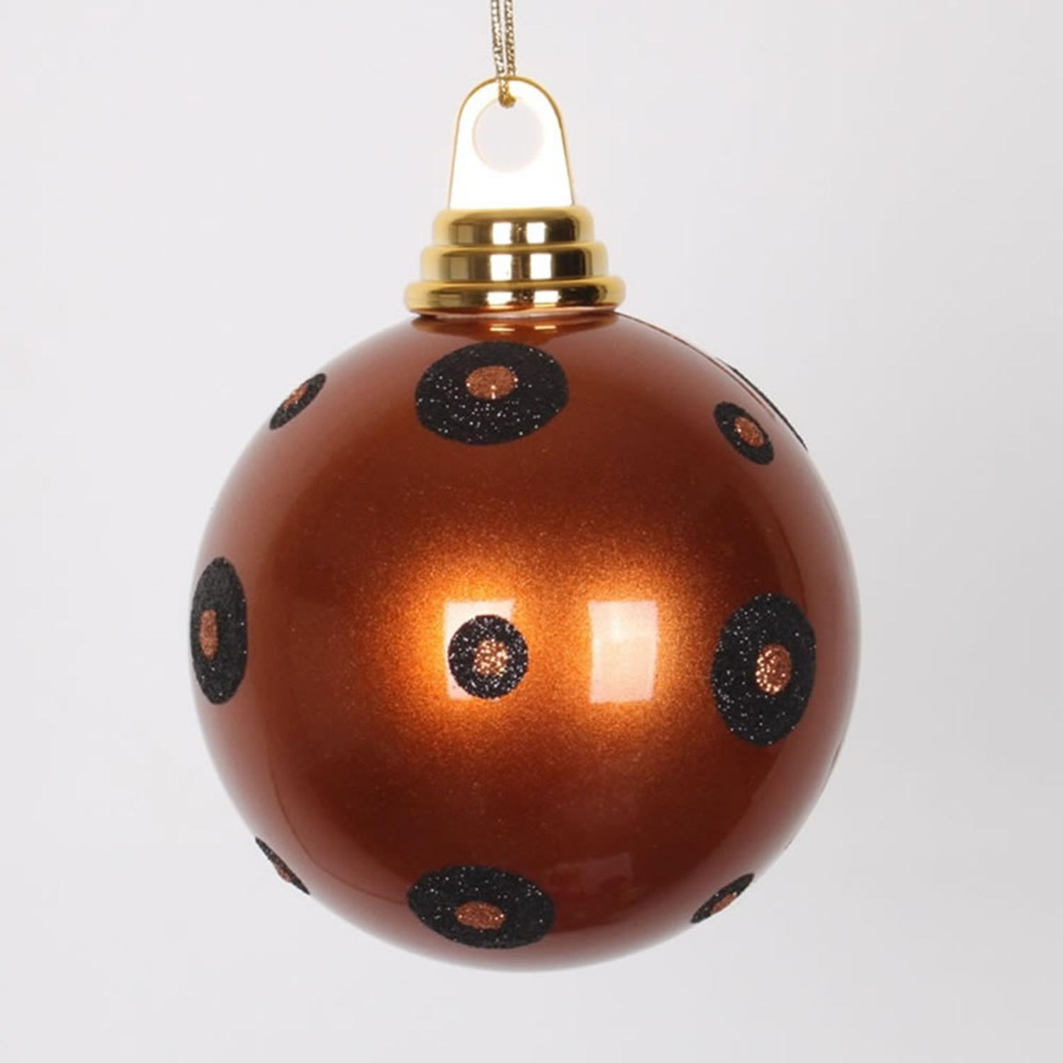 Vickerman Candy Copper With Black Glitter Polka Dots Christmas Ball ...