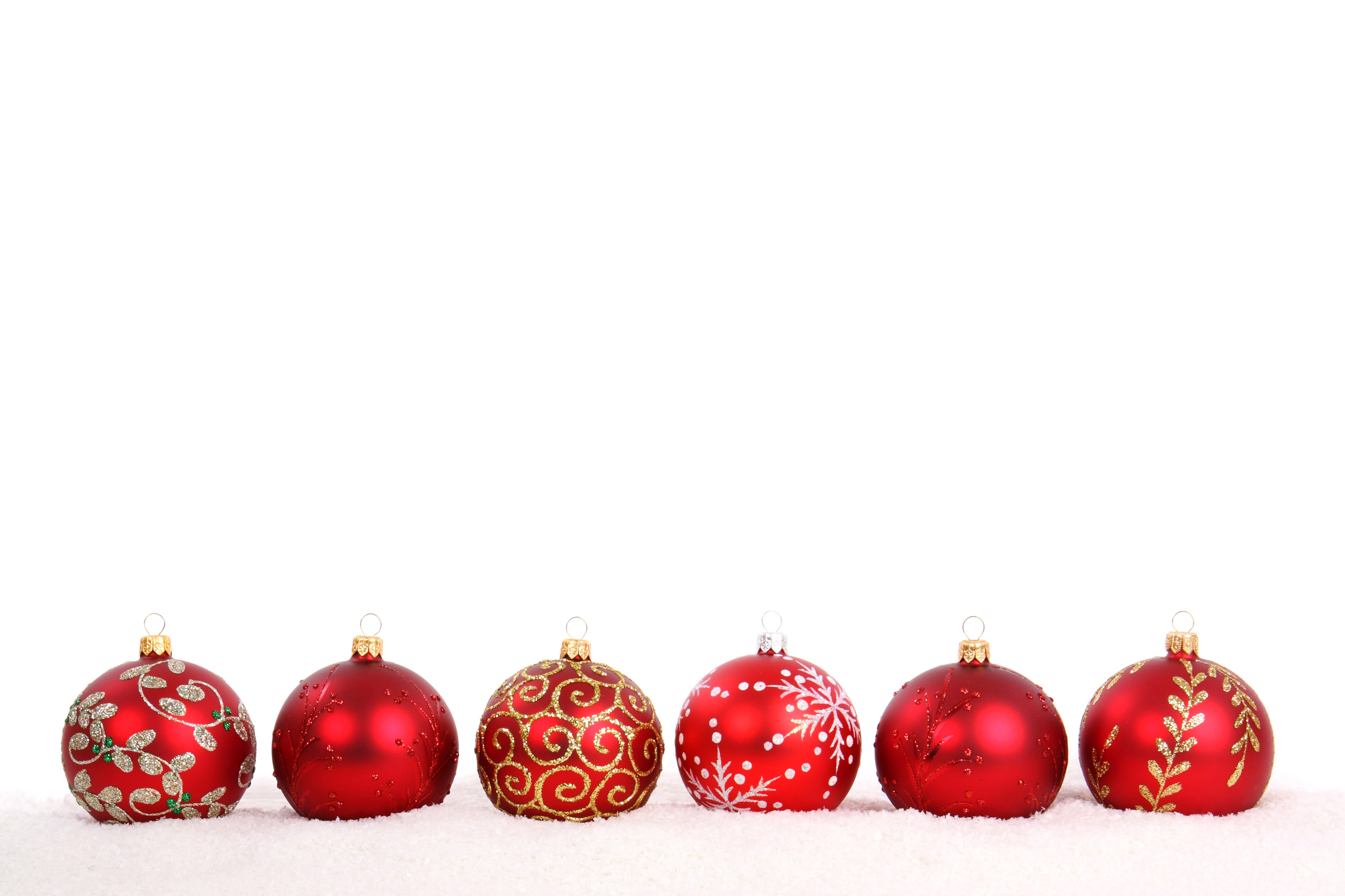 Assorted Christmas Ornaments On A White Background Www Row Of Balls ...