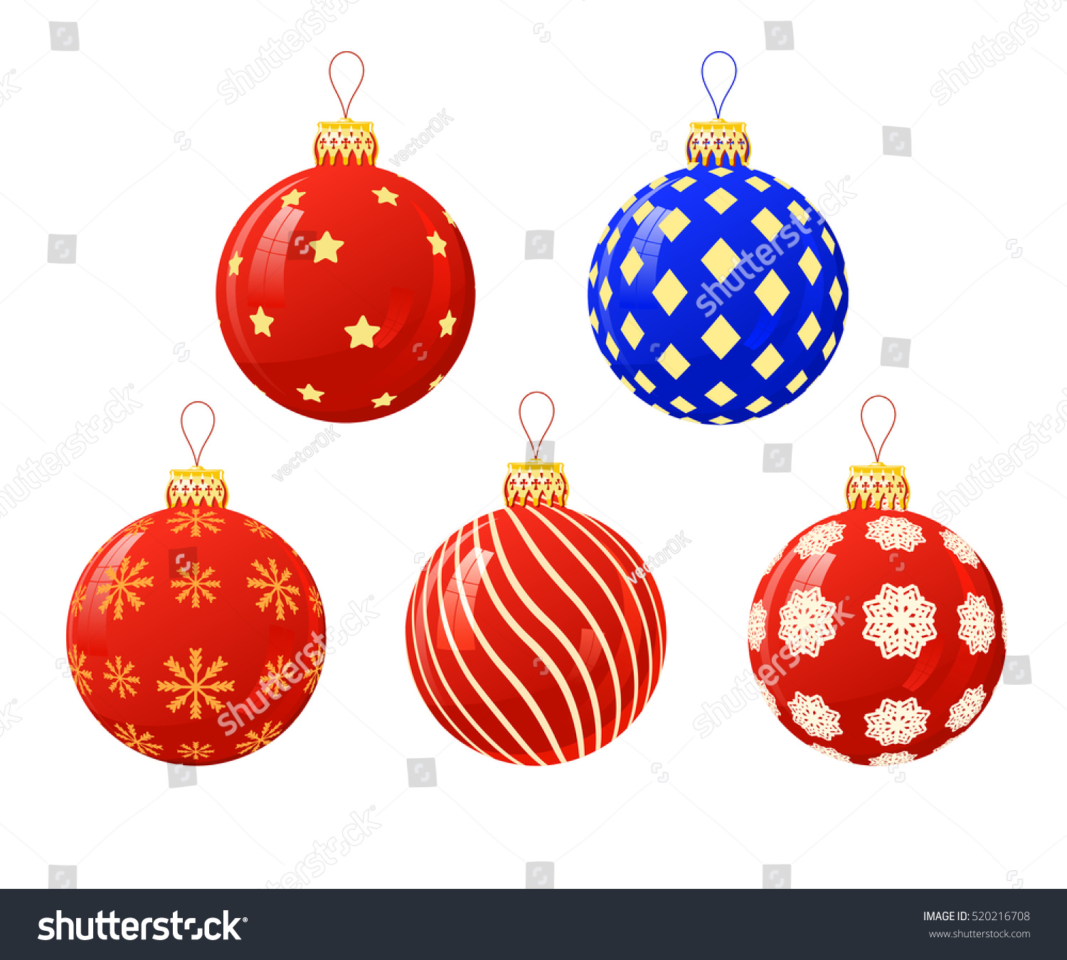 Vector Illustration Color Christmas Balls On Stock Vector 520216708 ...