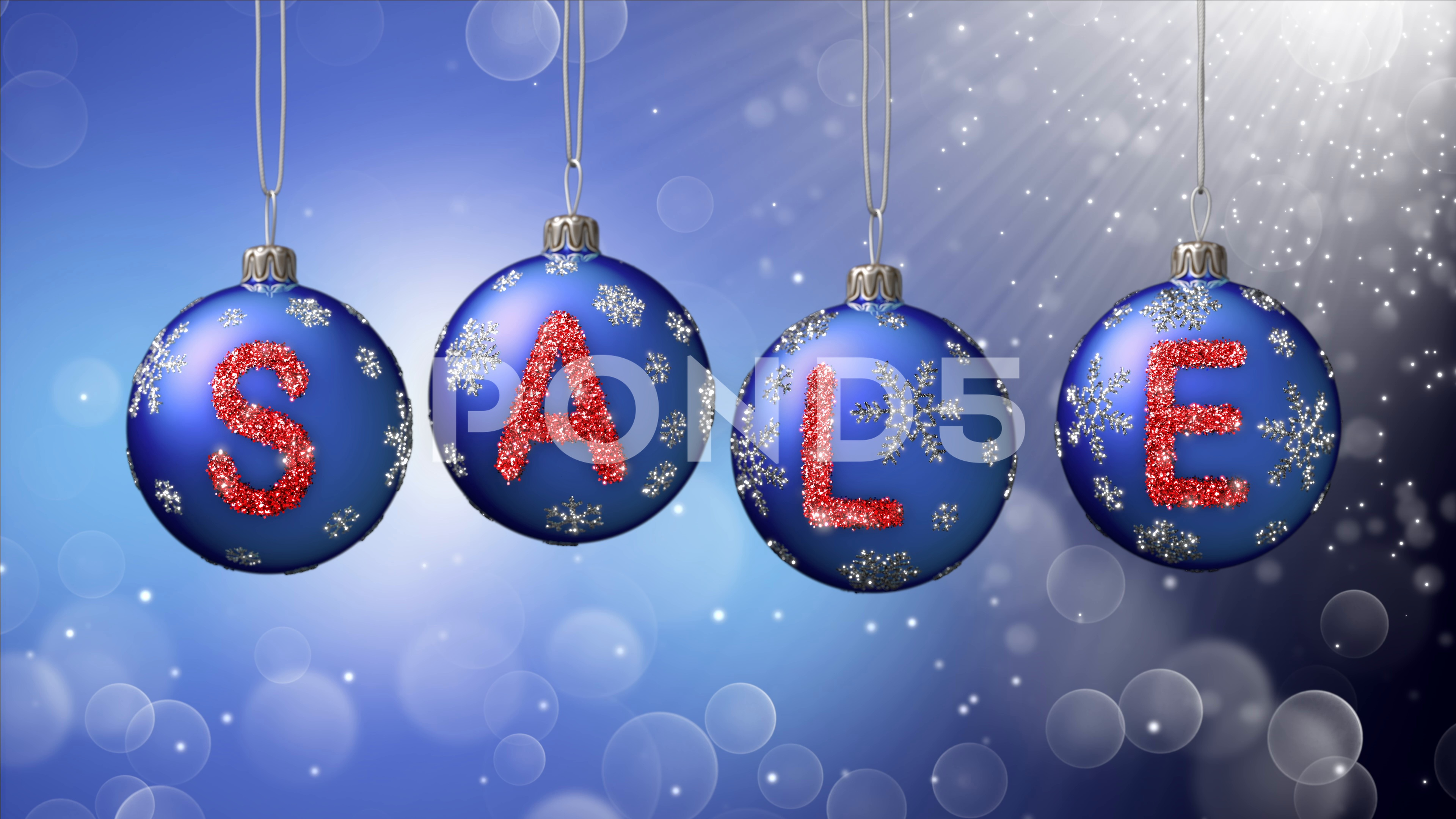 Sale banner on blue Christmas balls with round snow flake on bokeh ...