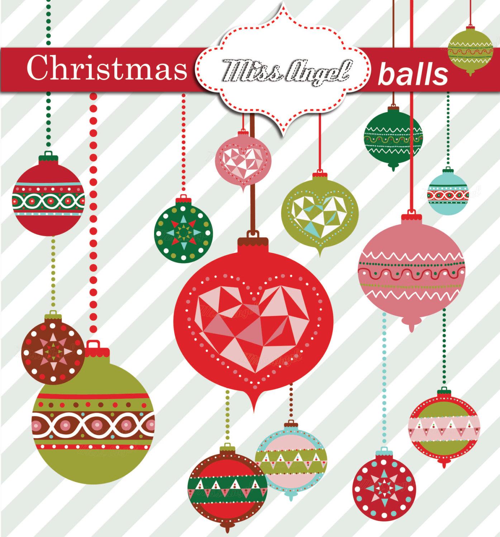 Christmas Balls CLIPART. Christmas Tree Decor Geometric Xmas