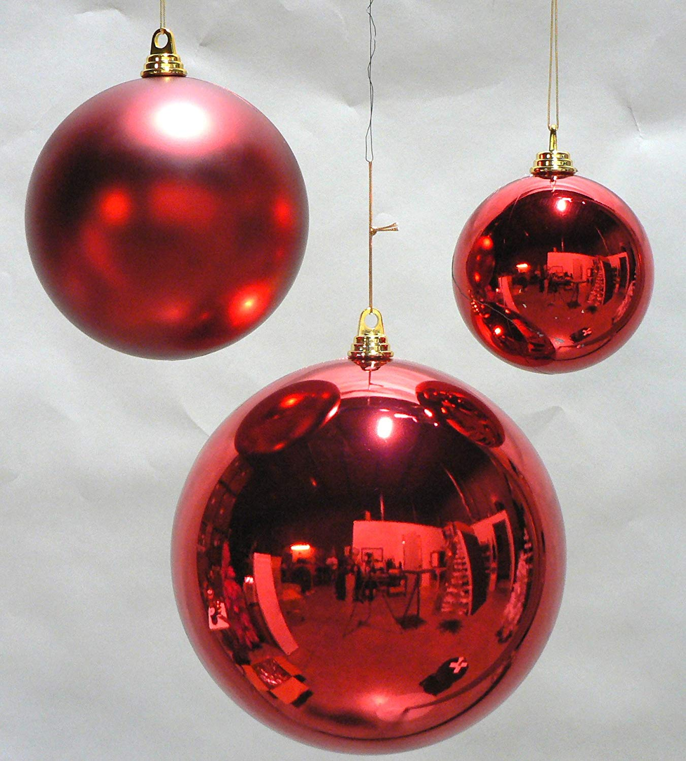 Amazon.com: 2 Large Shiny Red Christmas Ball Ornaments 12inch TWO ...