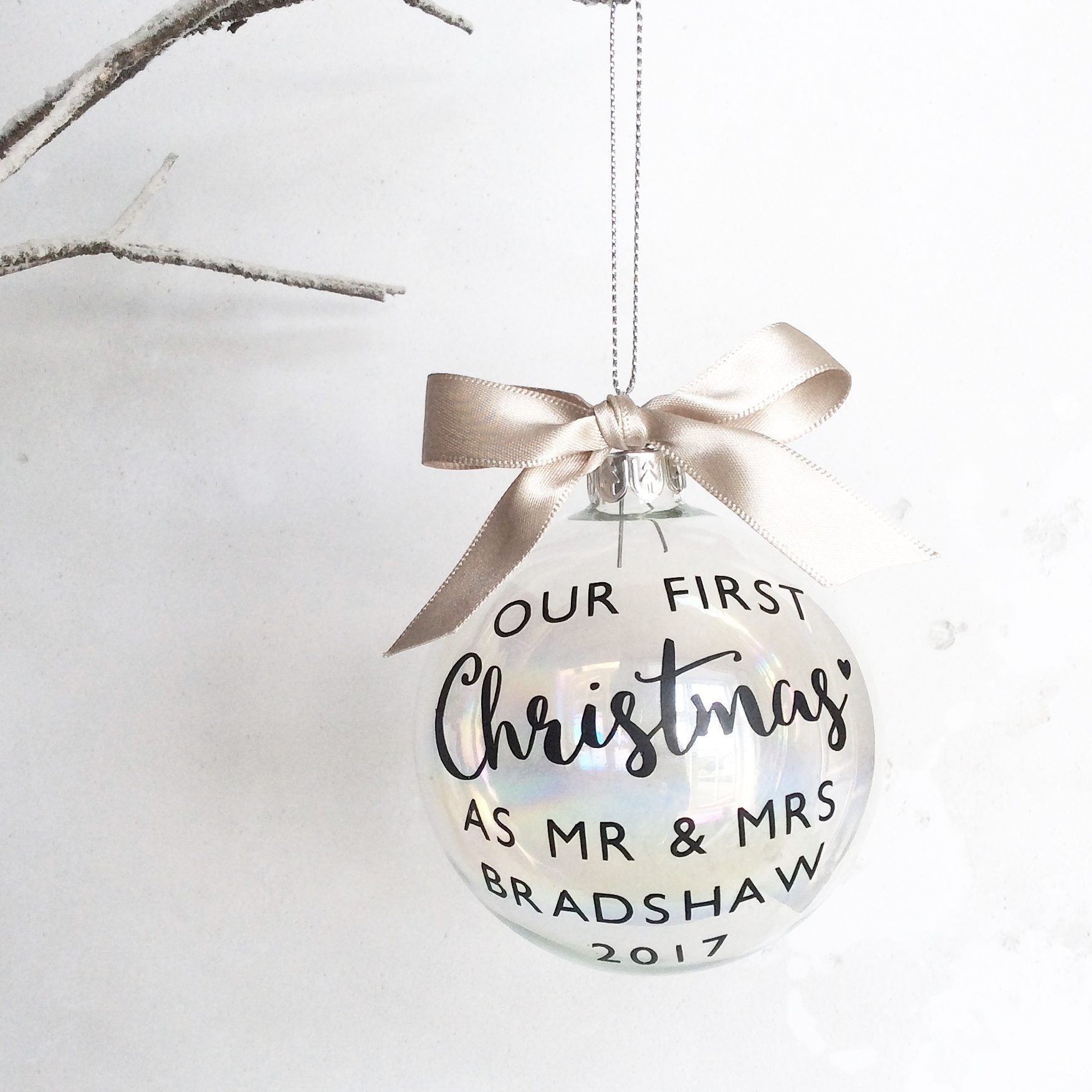 Personalised First Christmas as Mr & Mrs Glass Christmas Bauble