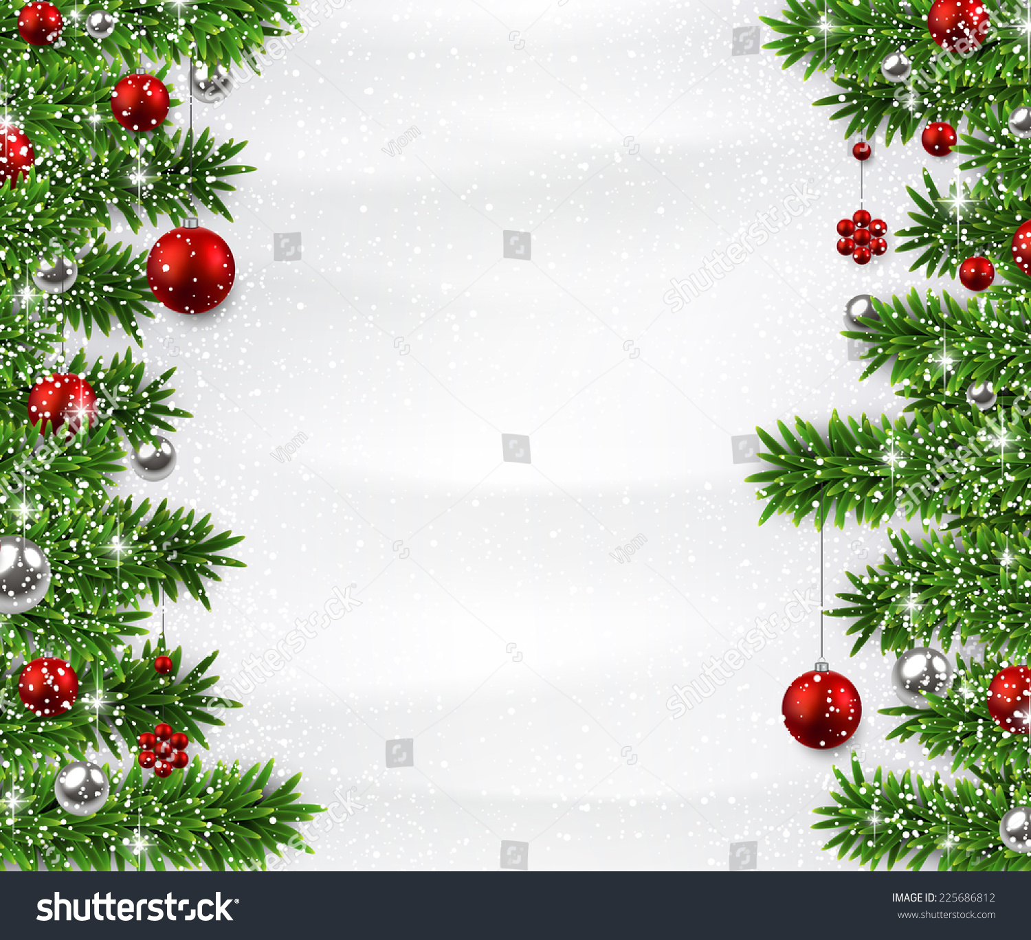 Winter Background Spruce Twigs Red Baubles Stock Vector 225686812 ...