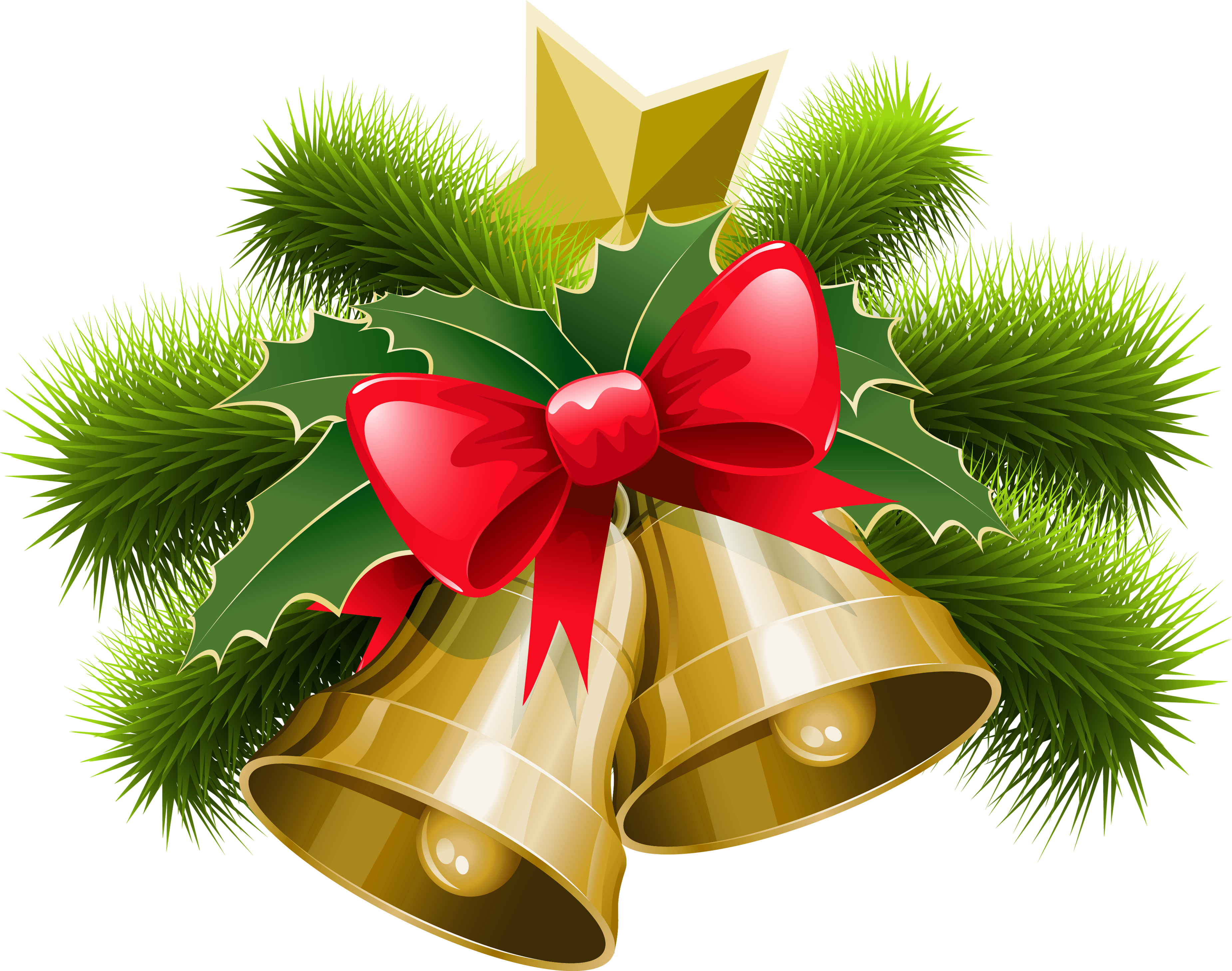 Large Transparent Christmas Bells with Bow PNG Clipart   Gallery ...