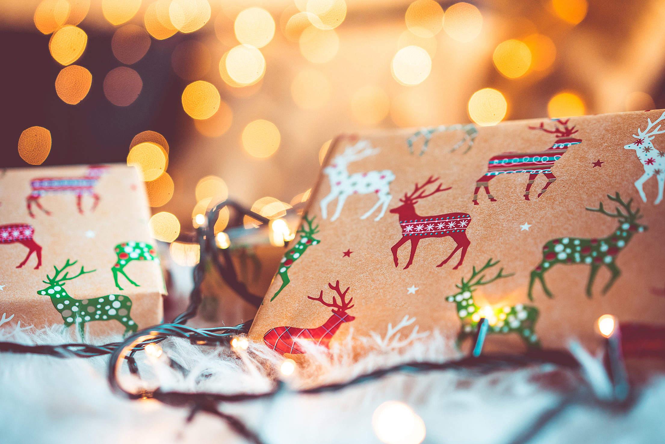 Christmas Gifts Still Life with Beautiful Bokeh Free Stock Photo ...