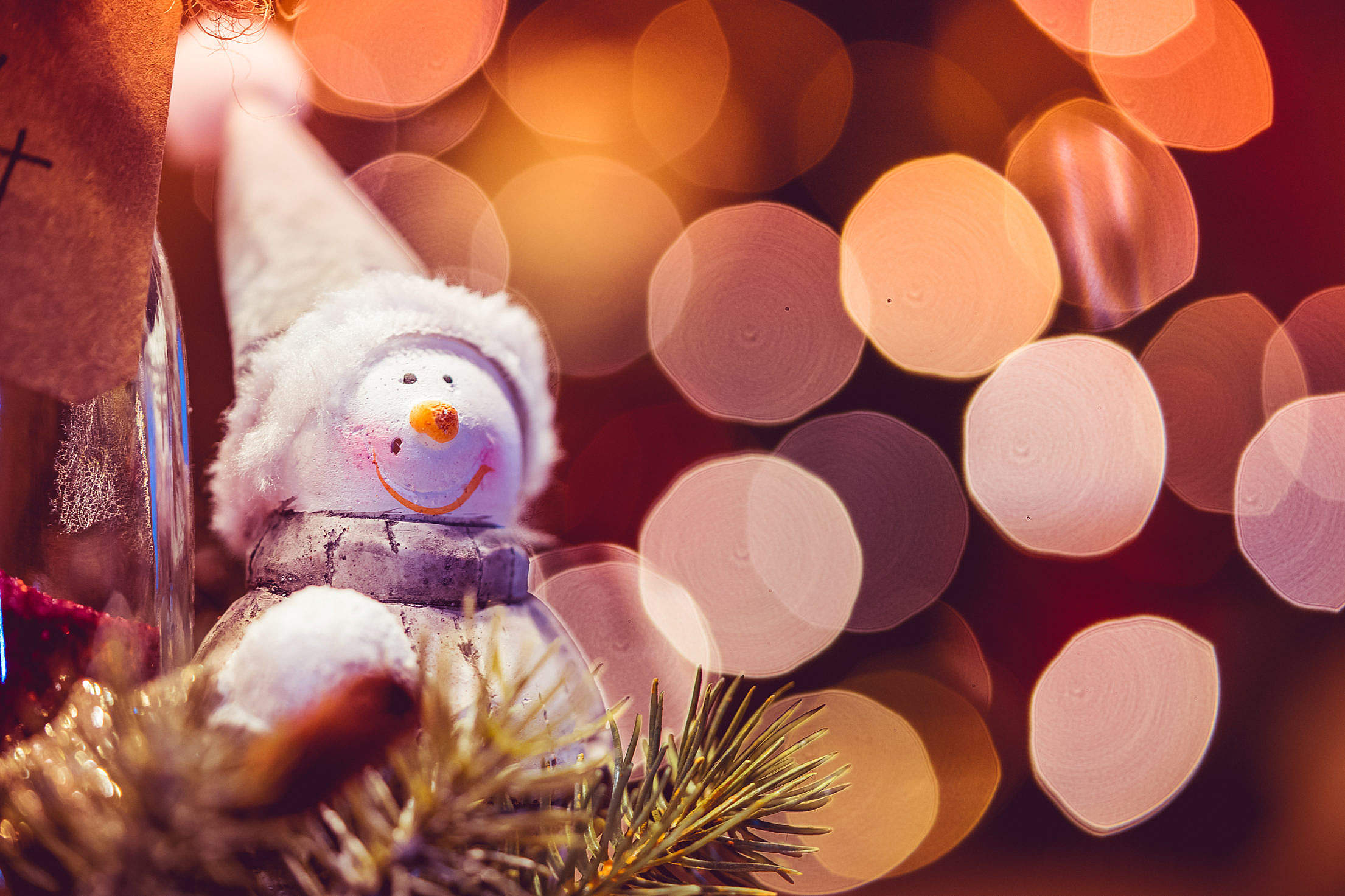 Snowman Decoration with Christmas Bokeh Free Stock Photo Download ...