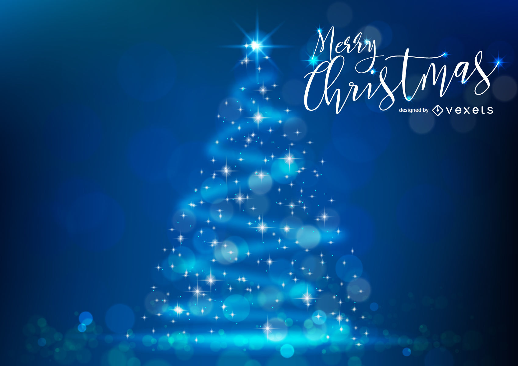 Glitter Christmas tree with bokeh - Vector download