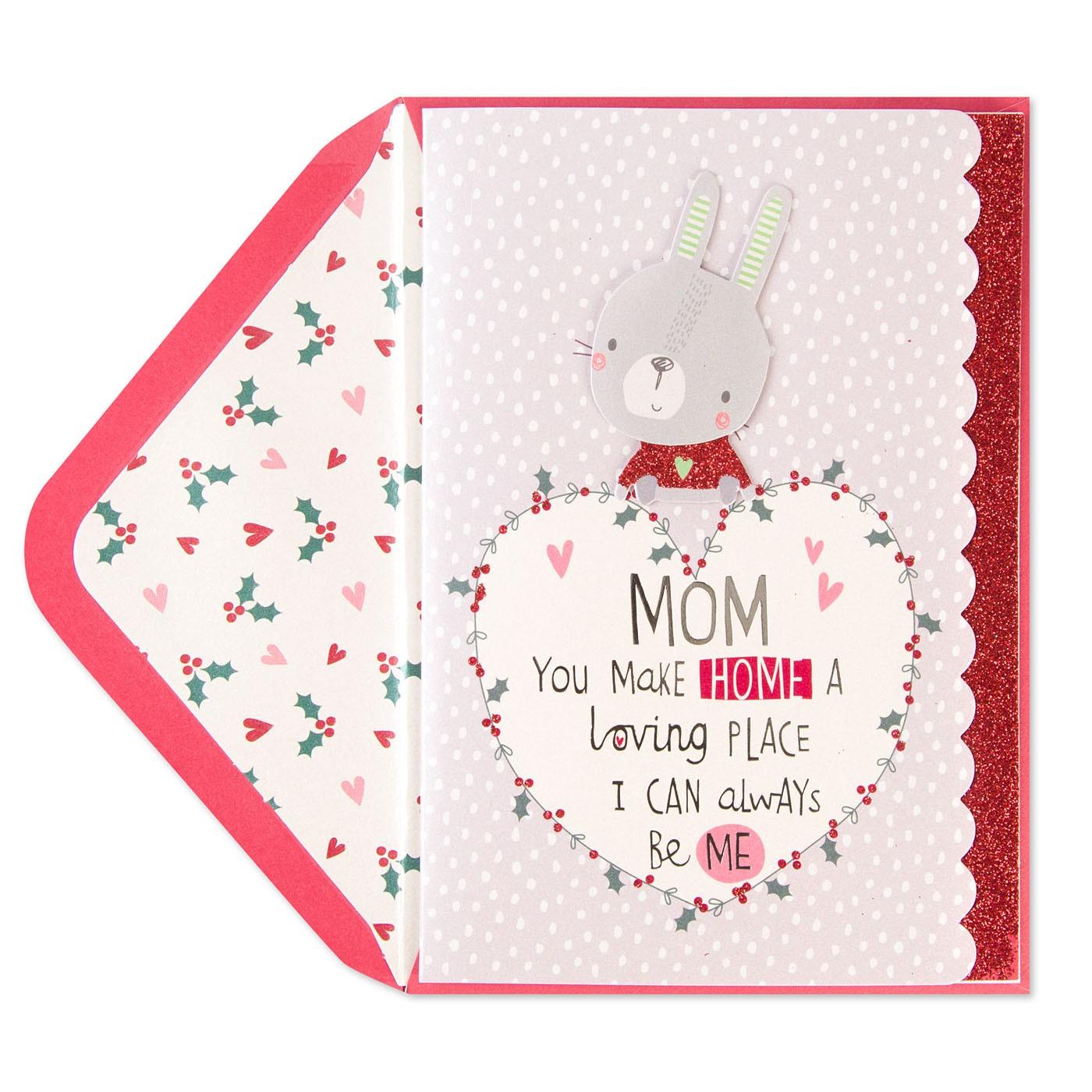 Bunny With Heart Wreath Christmas Card (For Mom)