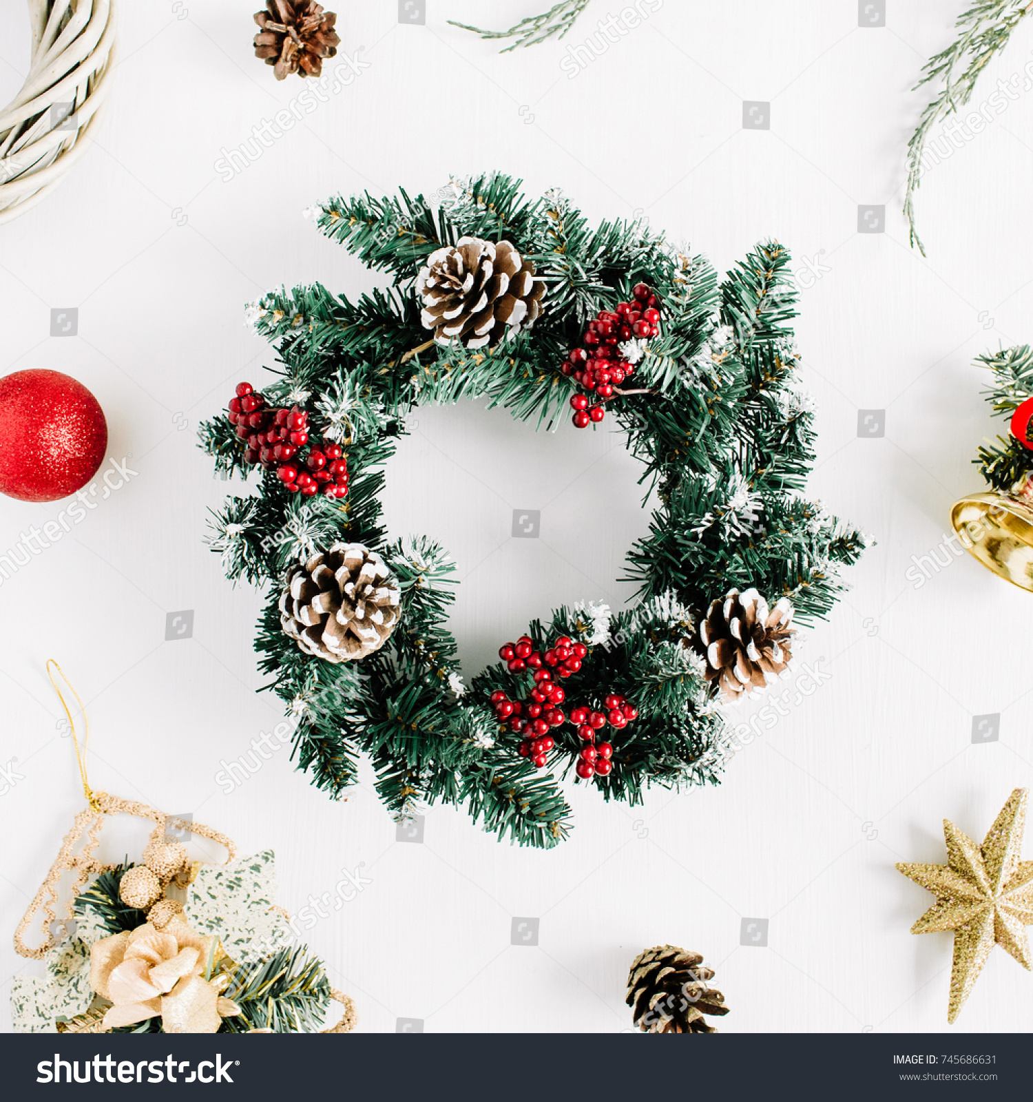 Christmas Composition Holiday Wreath Frame On Stock Photo (Royalty ...
