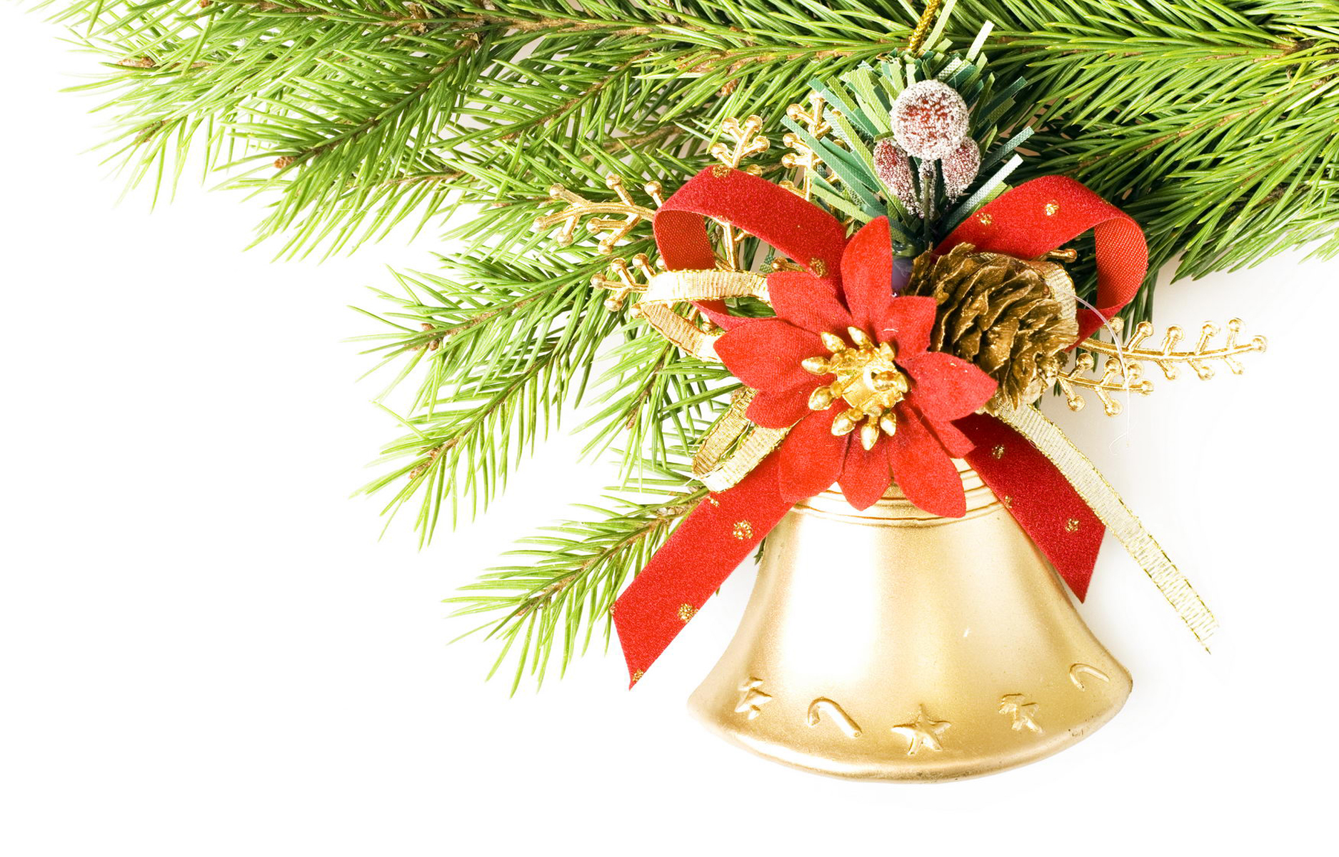 christmas decoration, Bell, Green, Winter, White, HQ Photo