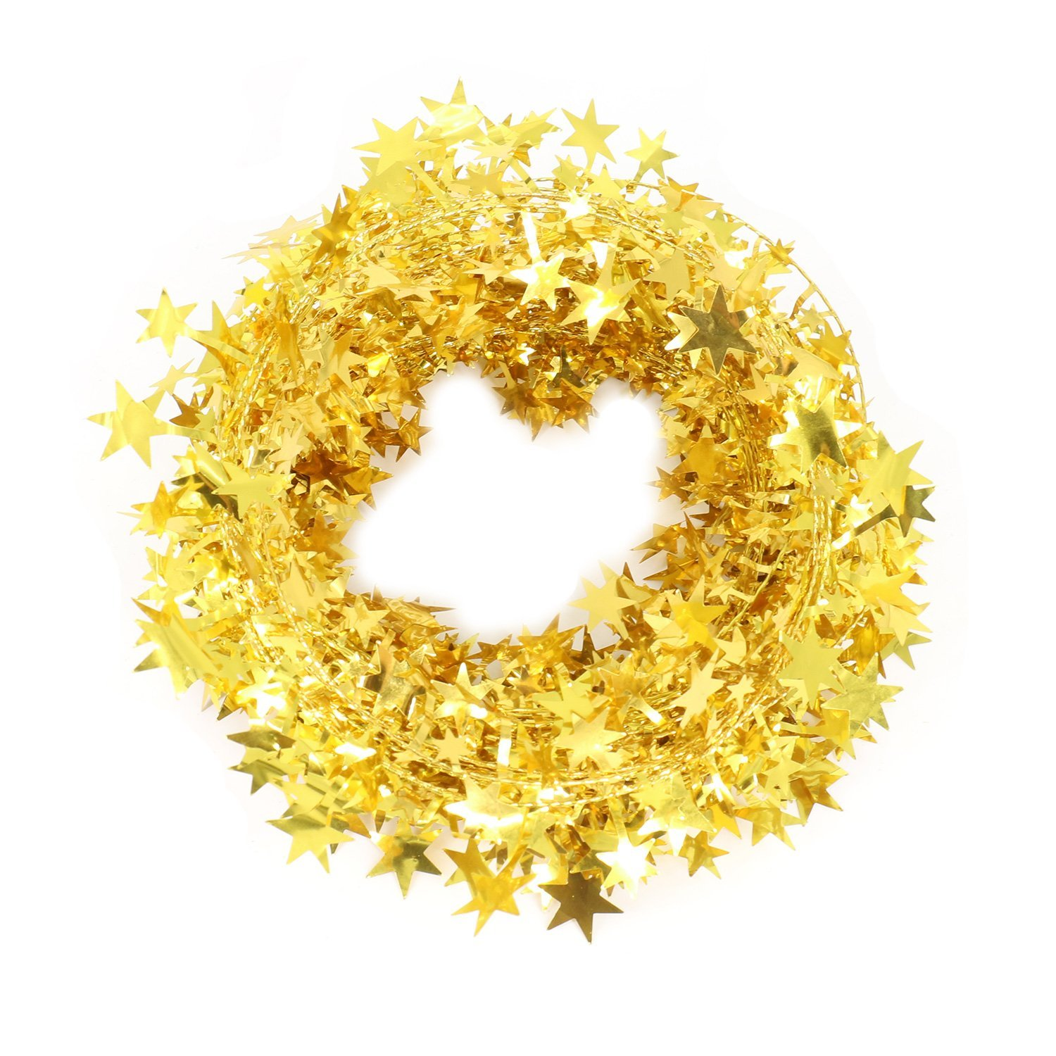 Amazon.com: Christmas Decorations Gold Star Wire Garland - 25 Ft X 2 ...