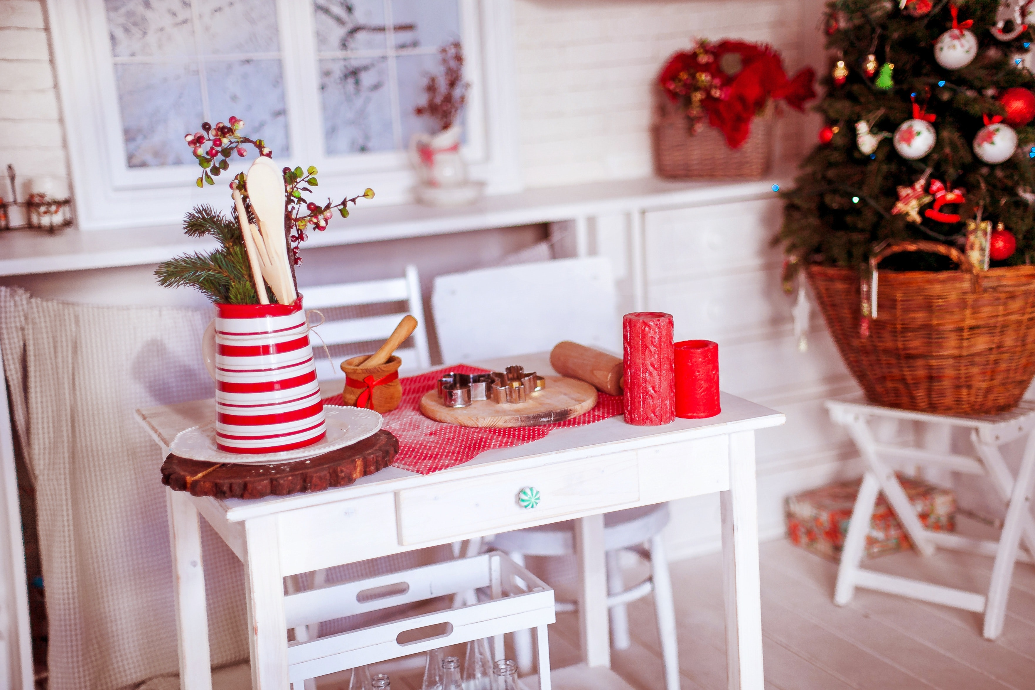 Christmas Decorations on Table, Candles, Interior design, Wood, Window, HQ Photo