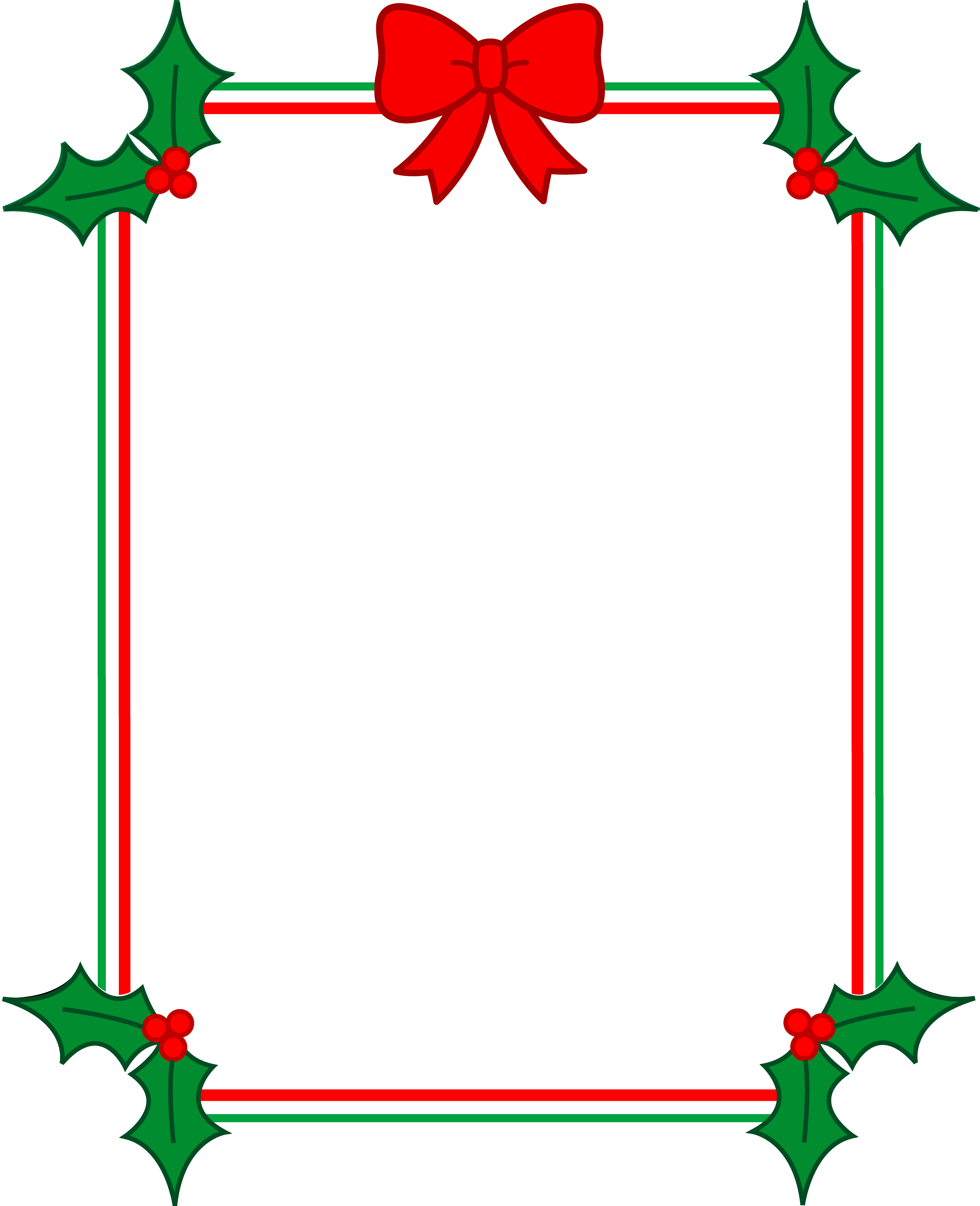 Christmas Border With Holly and Ribbon - Free Clip Art