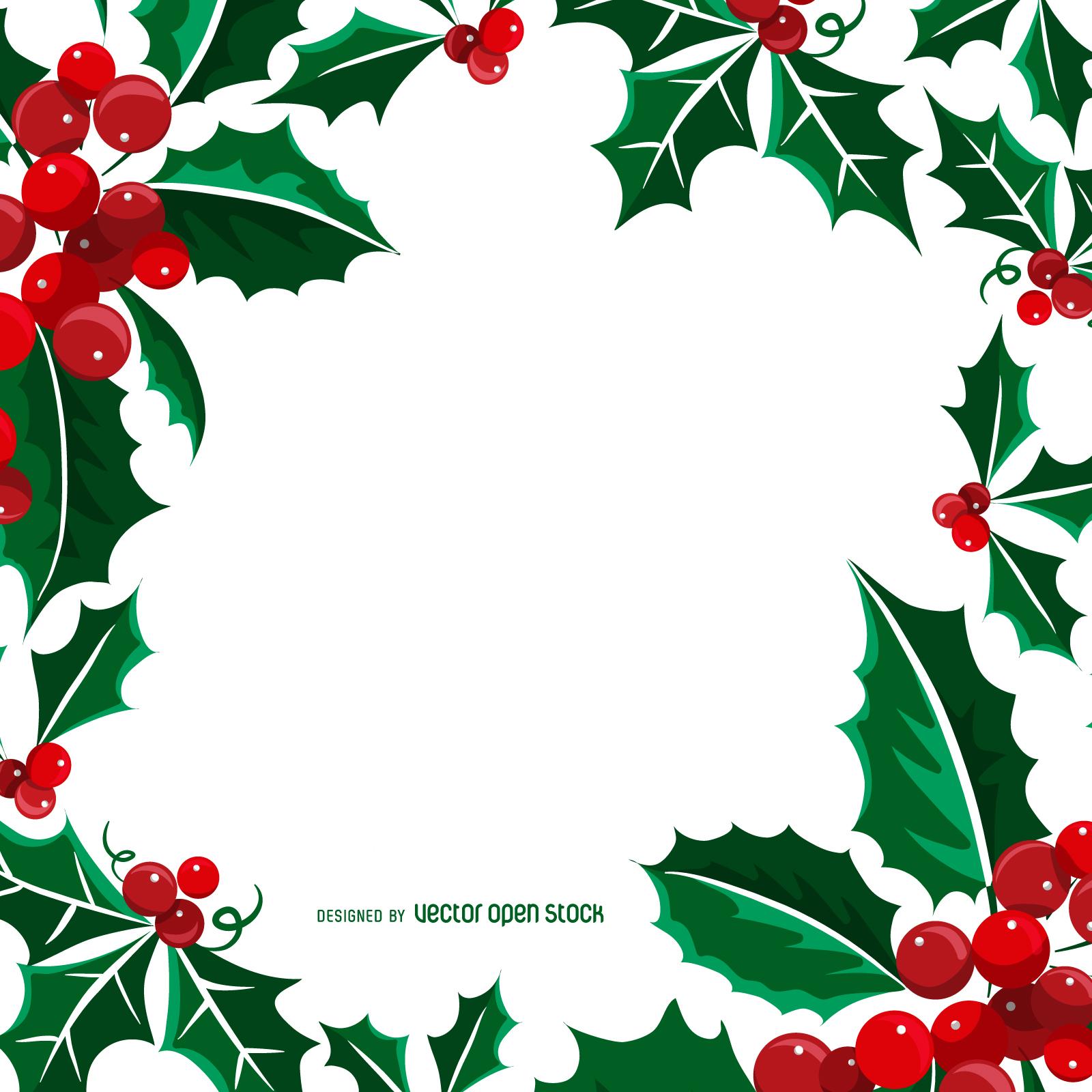Square Christmas mistletoe frame - Vector download