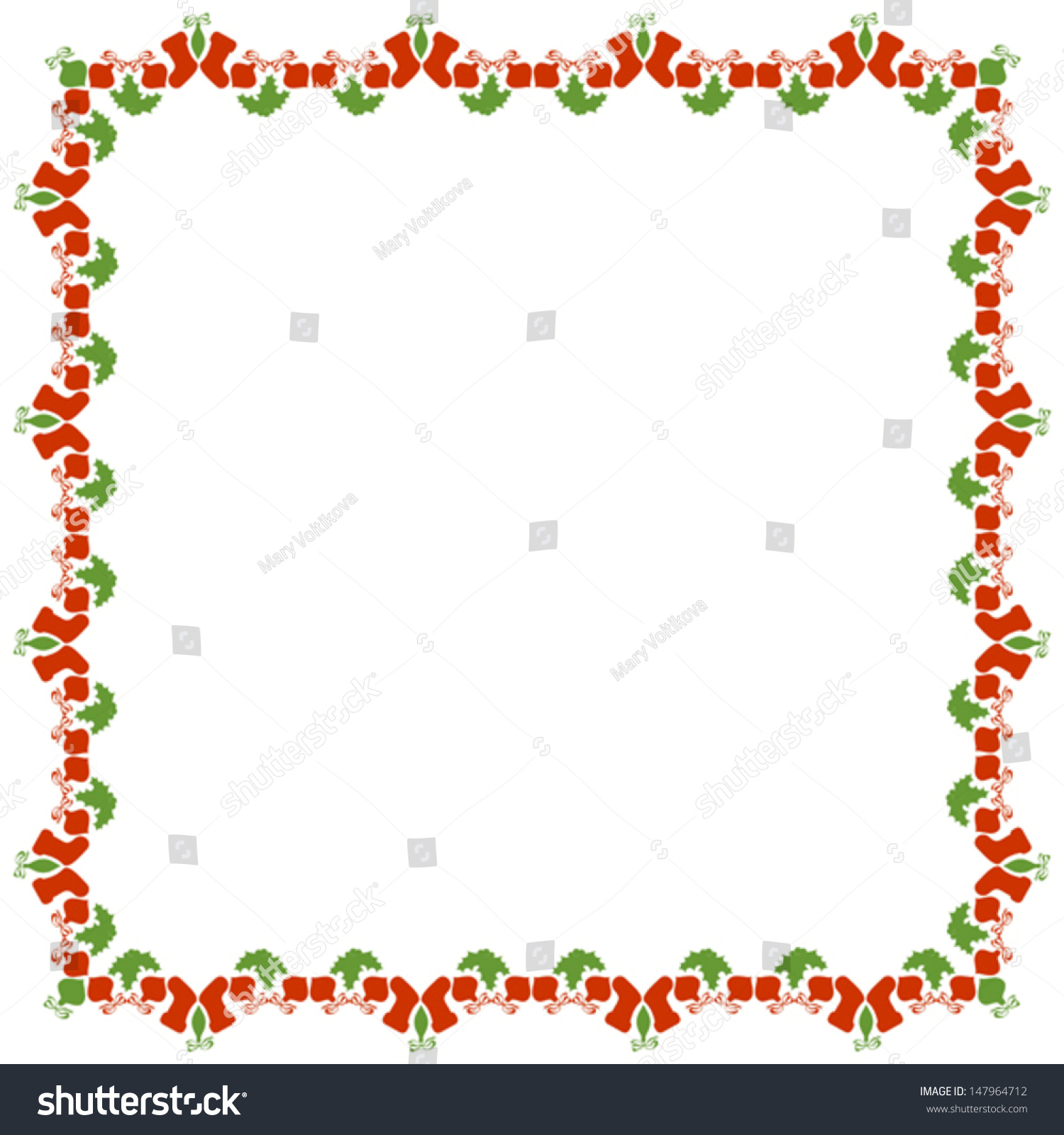 Isolated Christmas Frame On White Background Stock Vector 147964712 ...