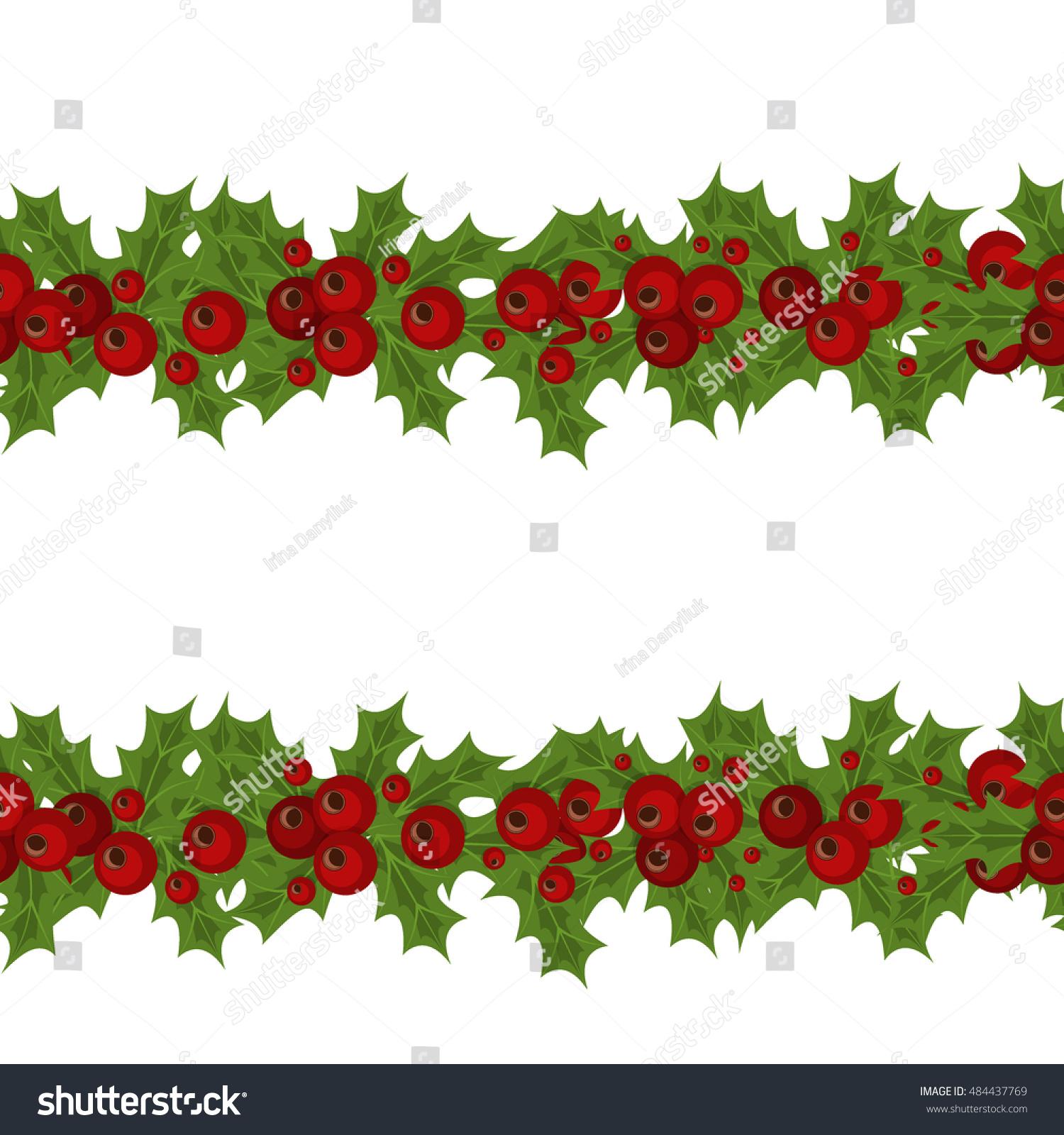 Green Christmas Garlands Holly Mistletoe Horizontal Stock Vector ...
