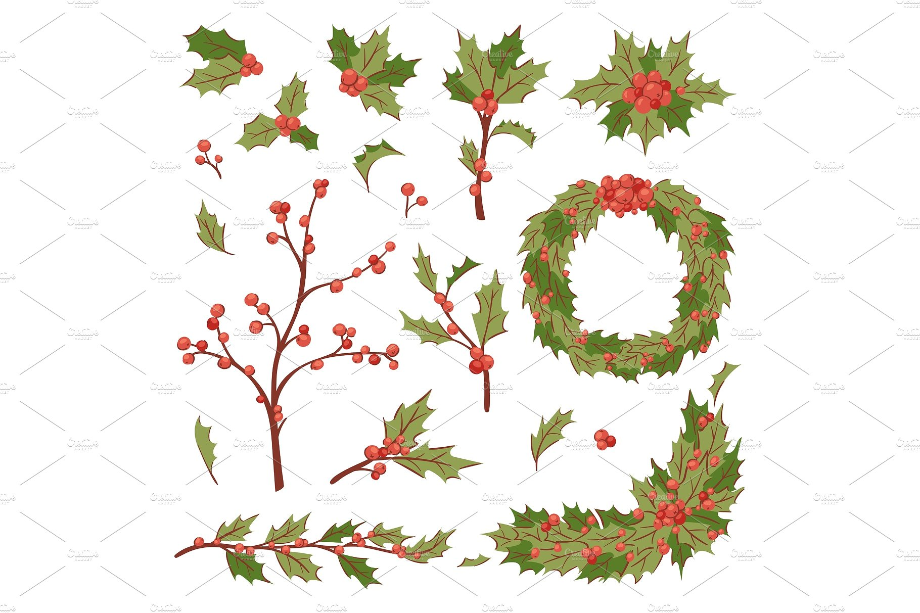 Christmas holly berry decoration vector leaves tree set, Xmas ...
