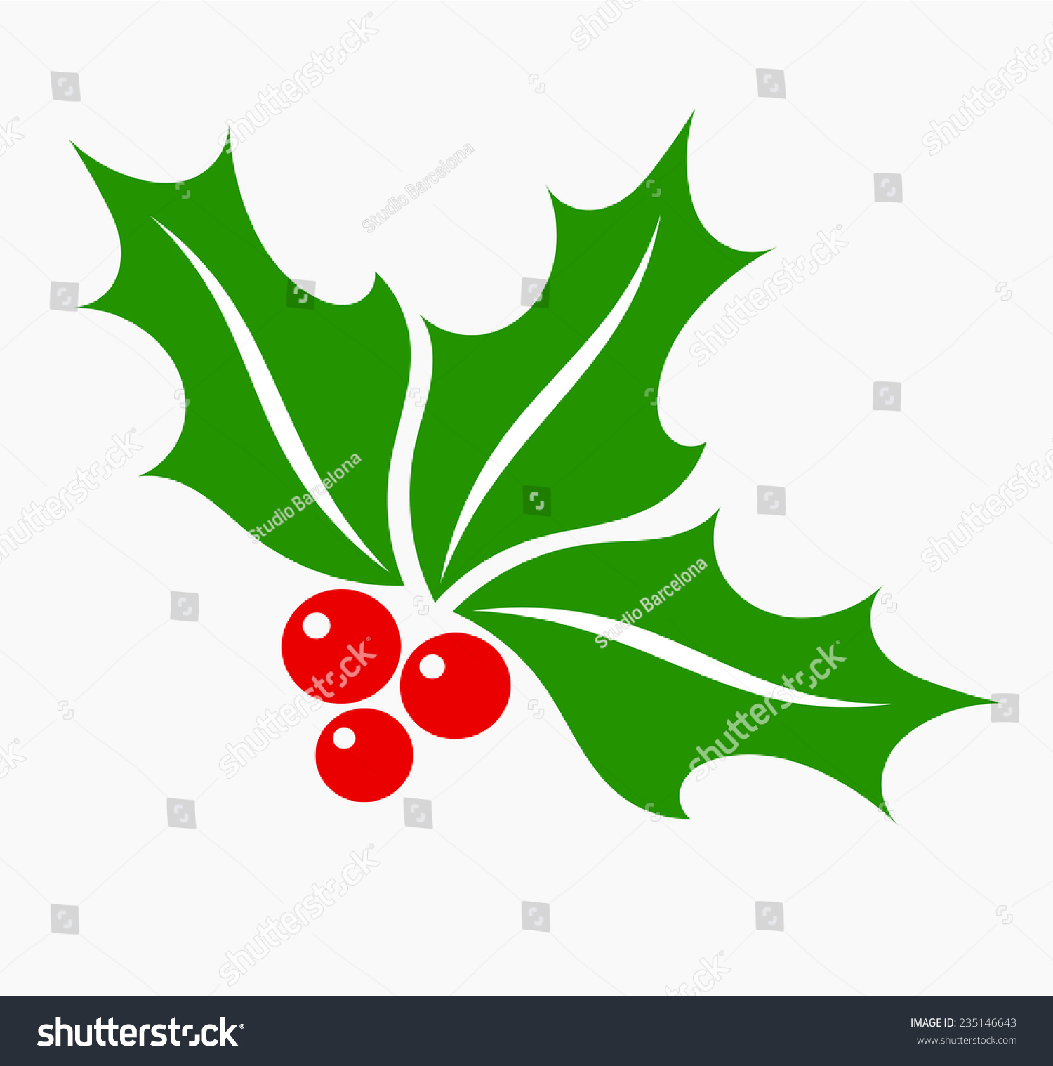 Holly Berry Leaves Fruits Christmas Symbol Stock Vector 235146643 ...