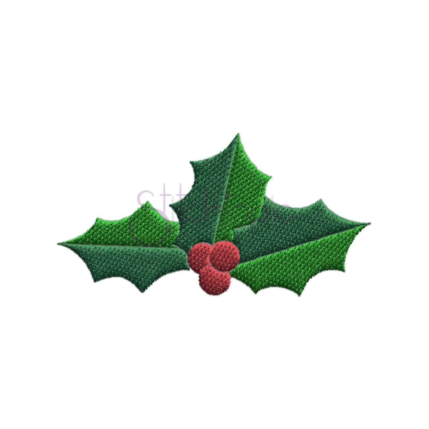 Christmas Holly Filled Embroidery Design | Stitchtopia