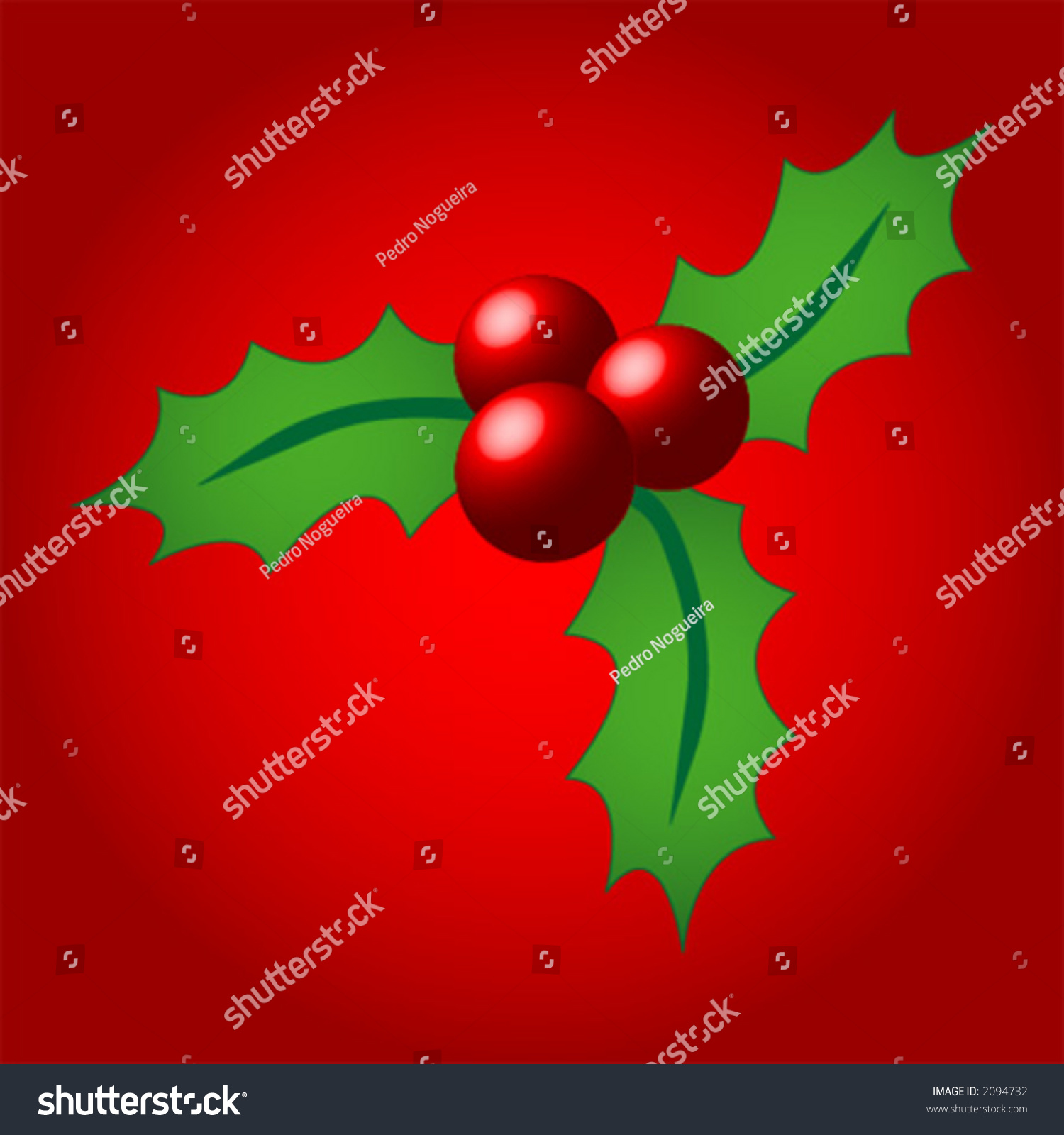Christmas Holly Over Red Background Stock Vector 2094732 - Shutterstock