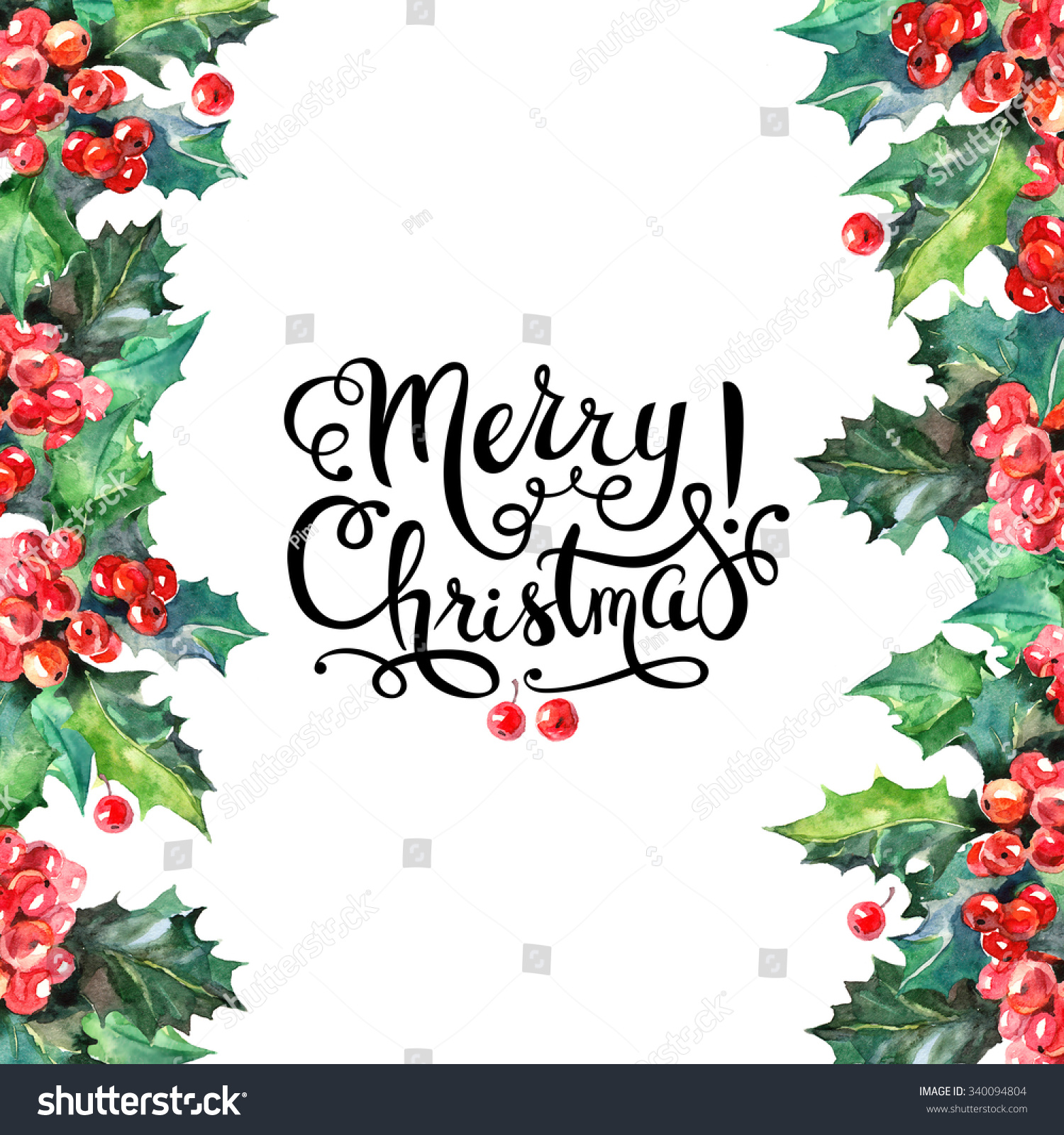 Watercolor Christmas Holly Branch Berry Background Stock ...