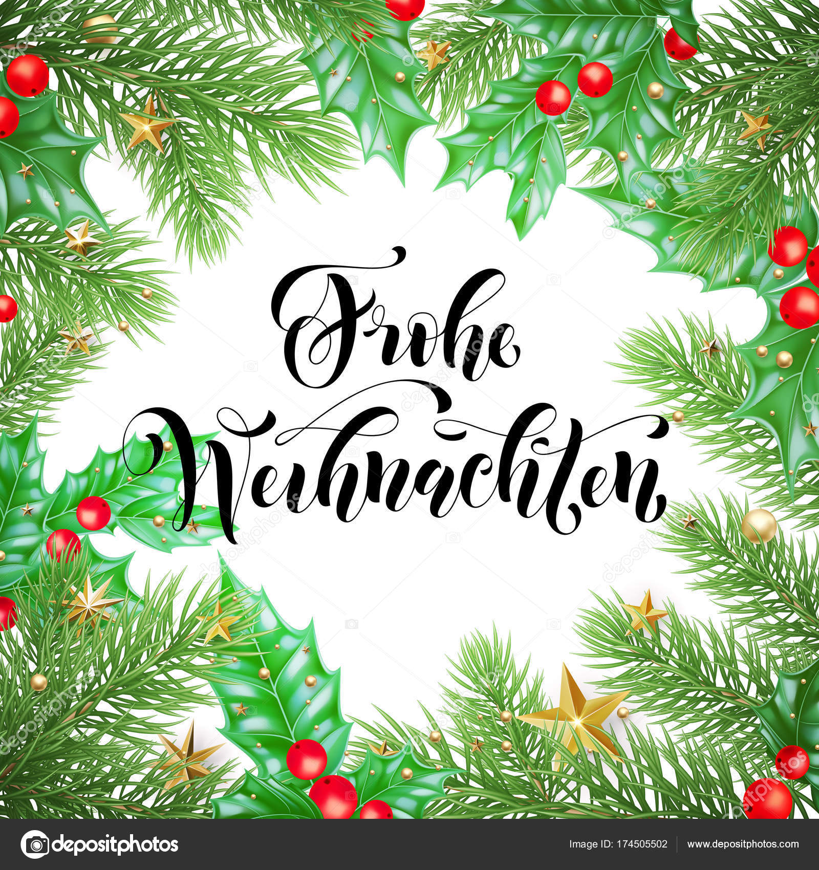 Frohe Weihnachten German Merry Christmas hand drawn quote ...