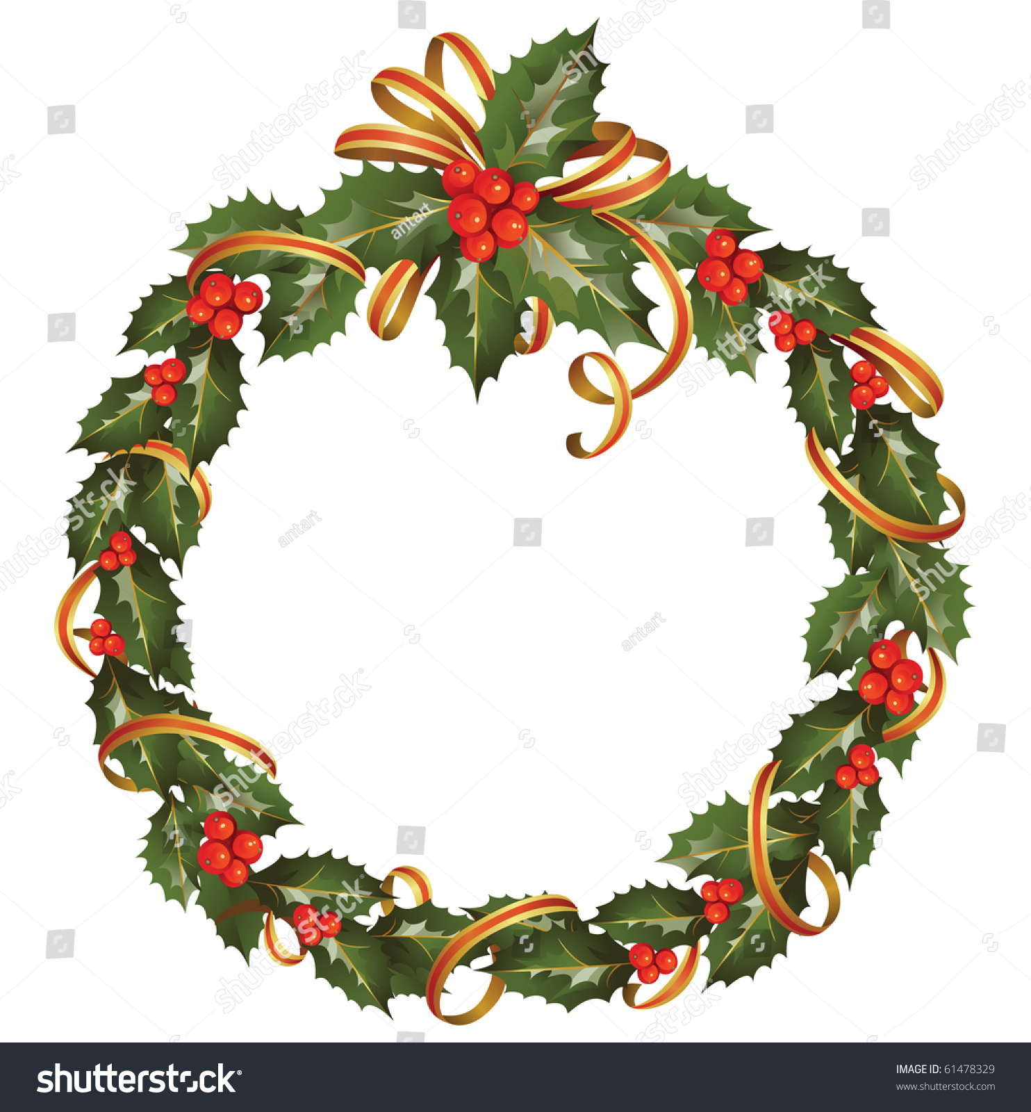 Circle Christmas Holly Branch Stock Vector 61478329 - Shutterstock