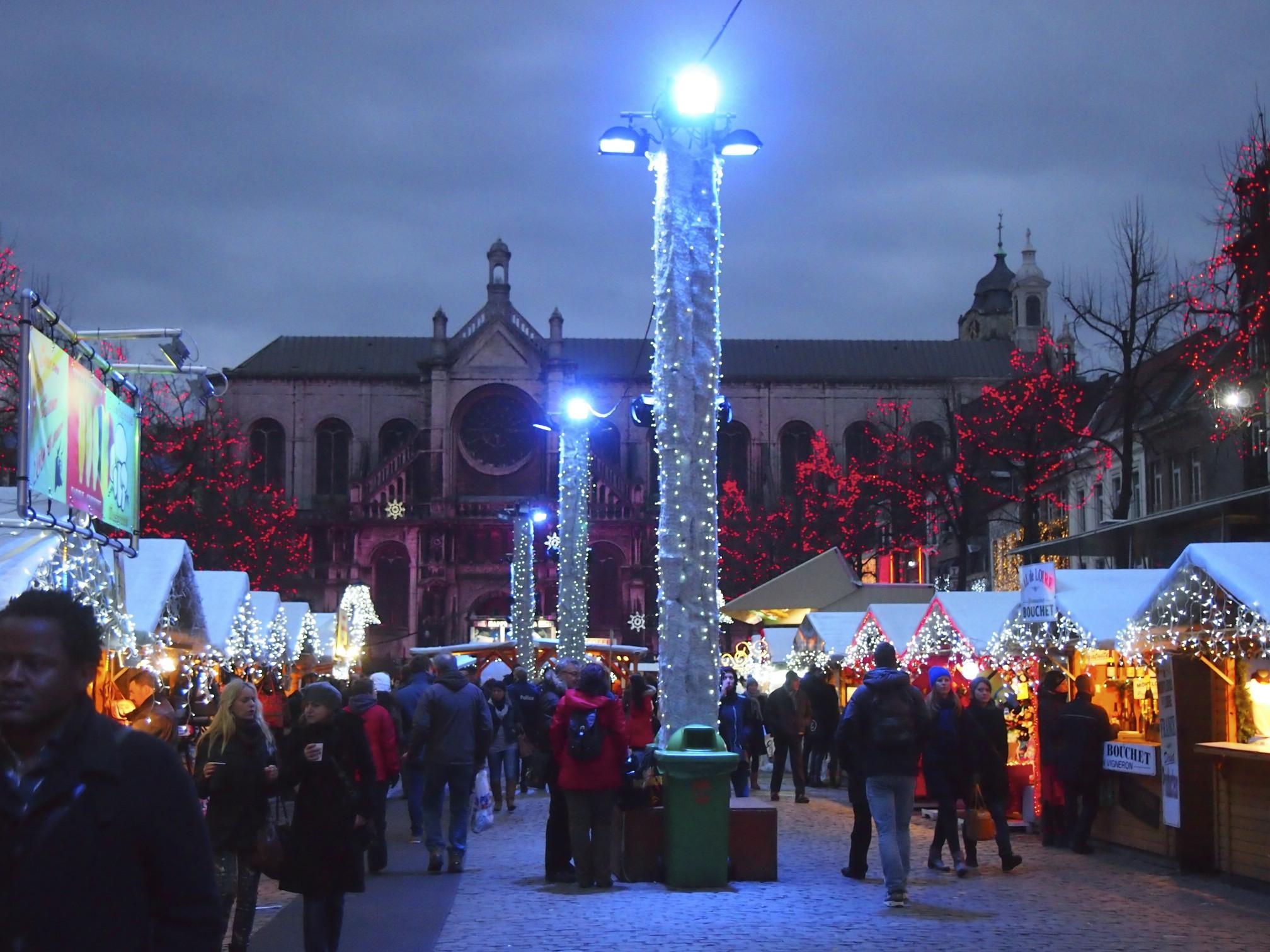 Christmas market in brussels, belgium photo