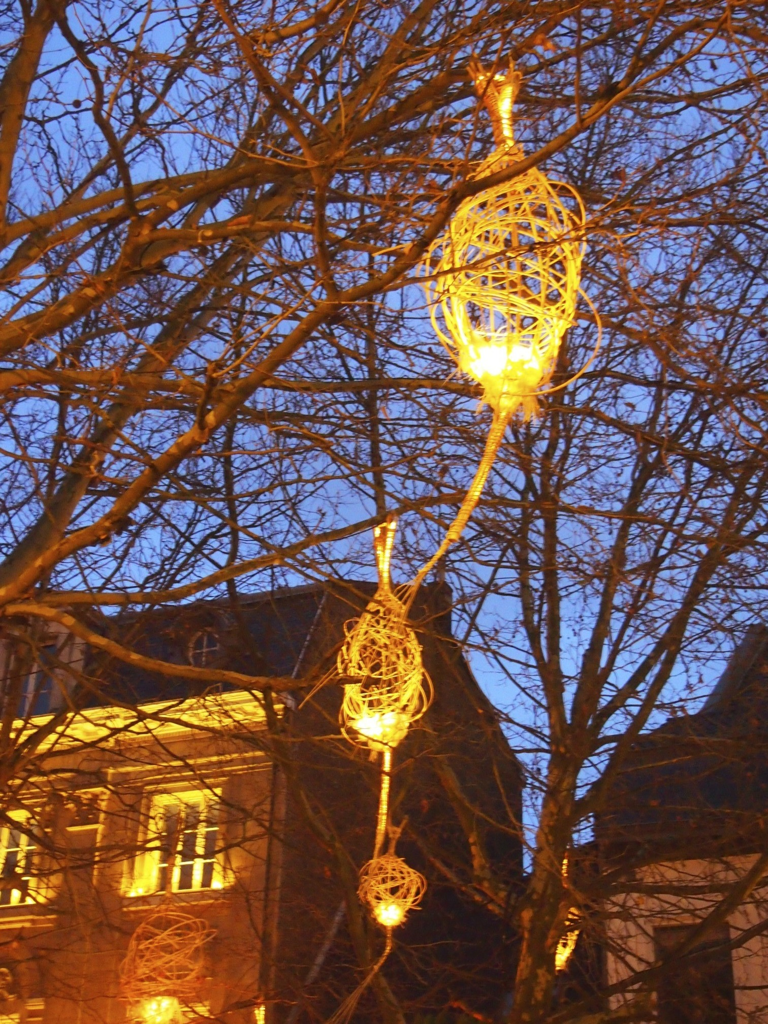 Christmas market lights in brussels photo