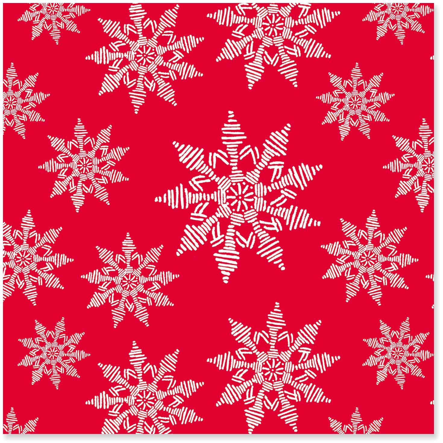 Snowflakes on Red Christmas Wrapping Paper Roll, 45 sq. ft ...
