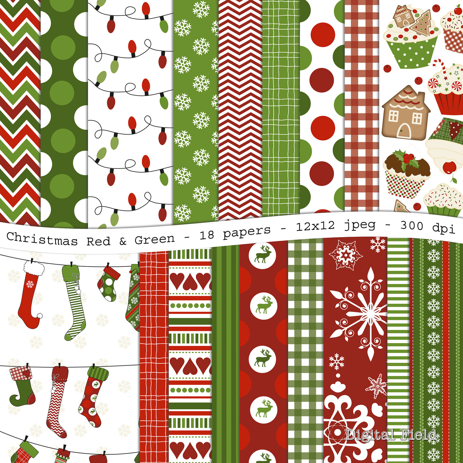 Christmas digital scrapbooking paper pack 18 jpeg red and