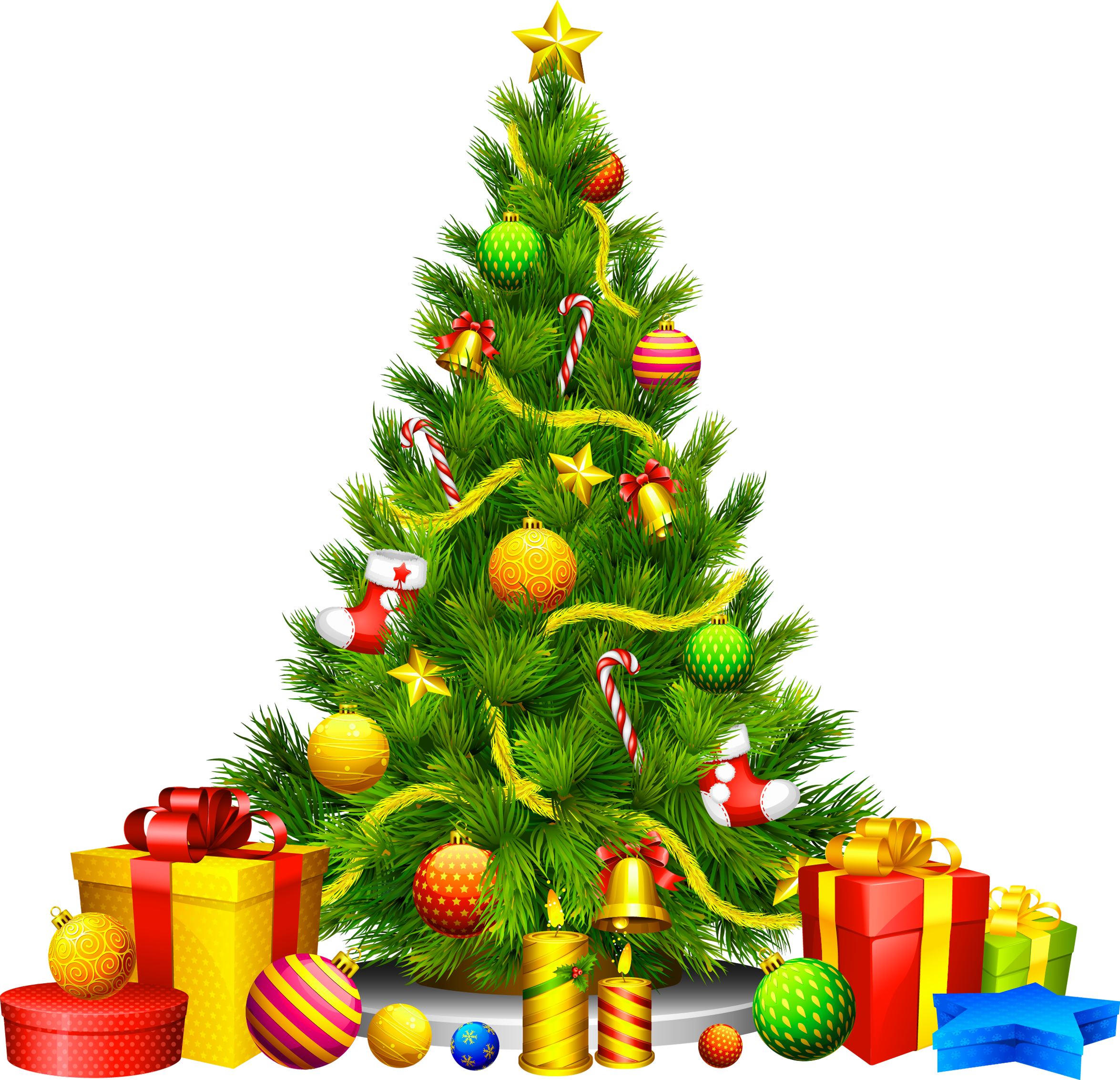 Large Transparent Christmas Tree with Presents Clipart | Gallery ...