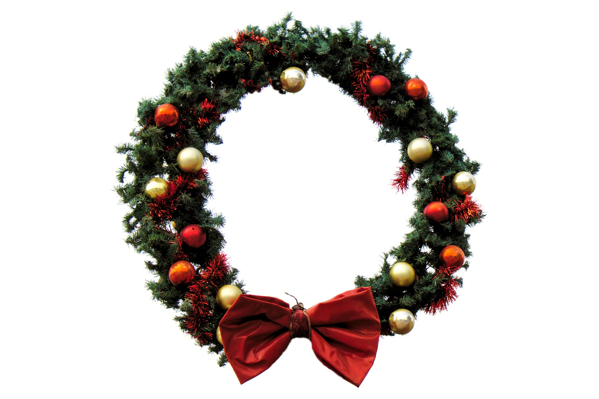 Christmas wreath on white background, Advent, Ornament, Xmas, Wreath, HQ Photo
