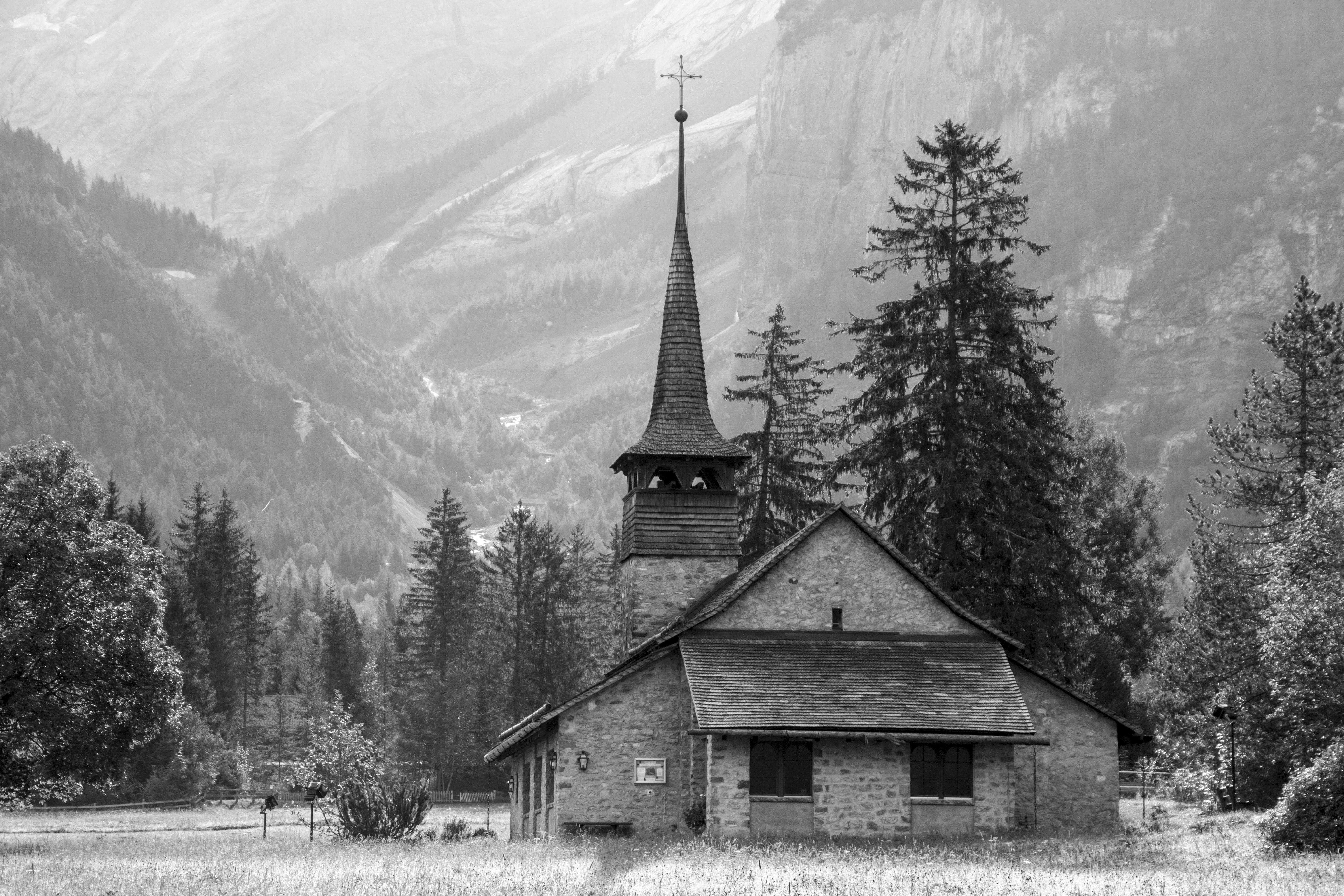 Church in the Open Field Near the Mountain, Black-and-white, Chapel, Church, Fog, HQ Photo