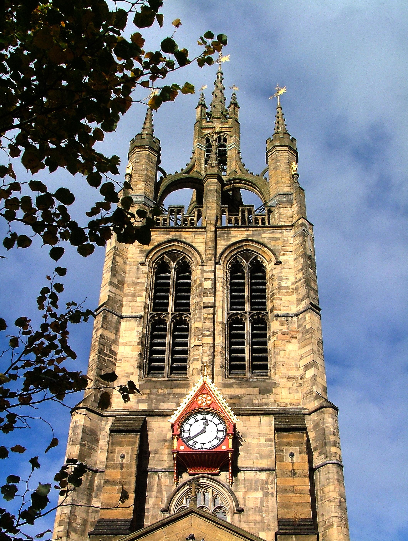 Church tower in England, Bell, Church, Clock, England, HQ Photo