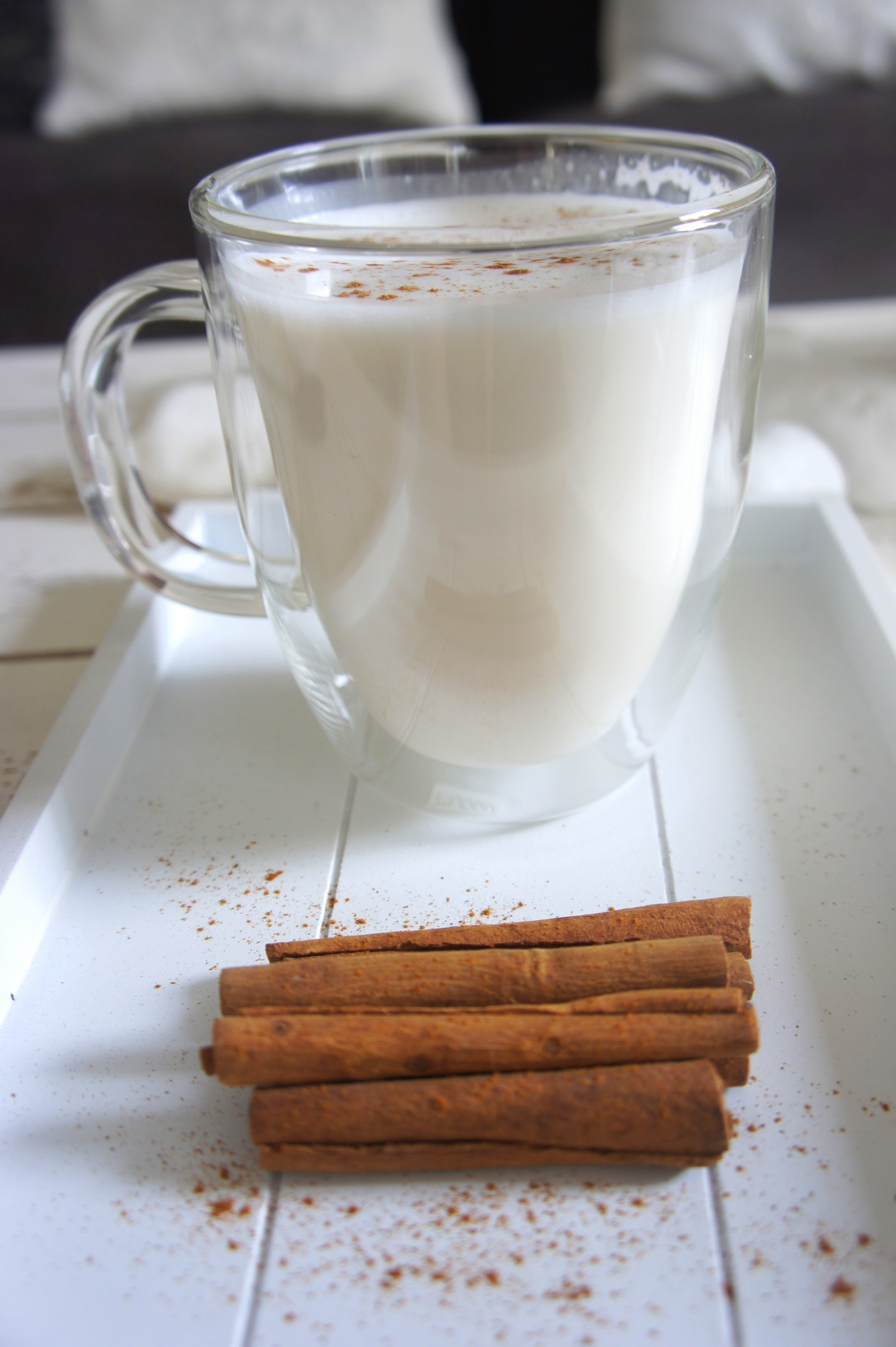 Cinnamon sticks beside the glass of milk photo
