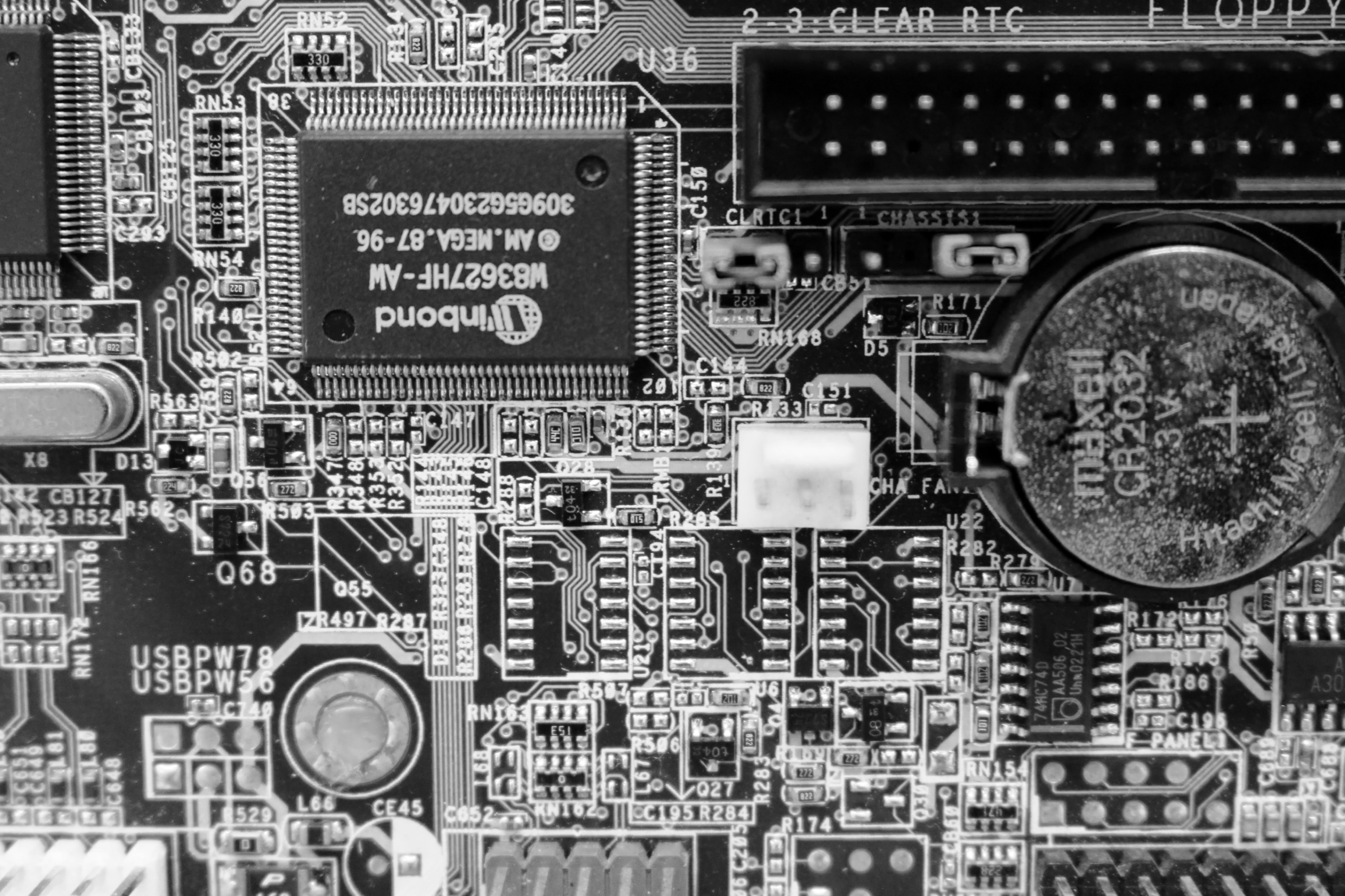 free photo circuit board black and white texture inside hardware