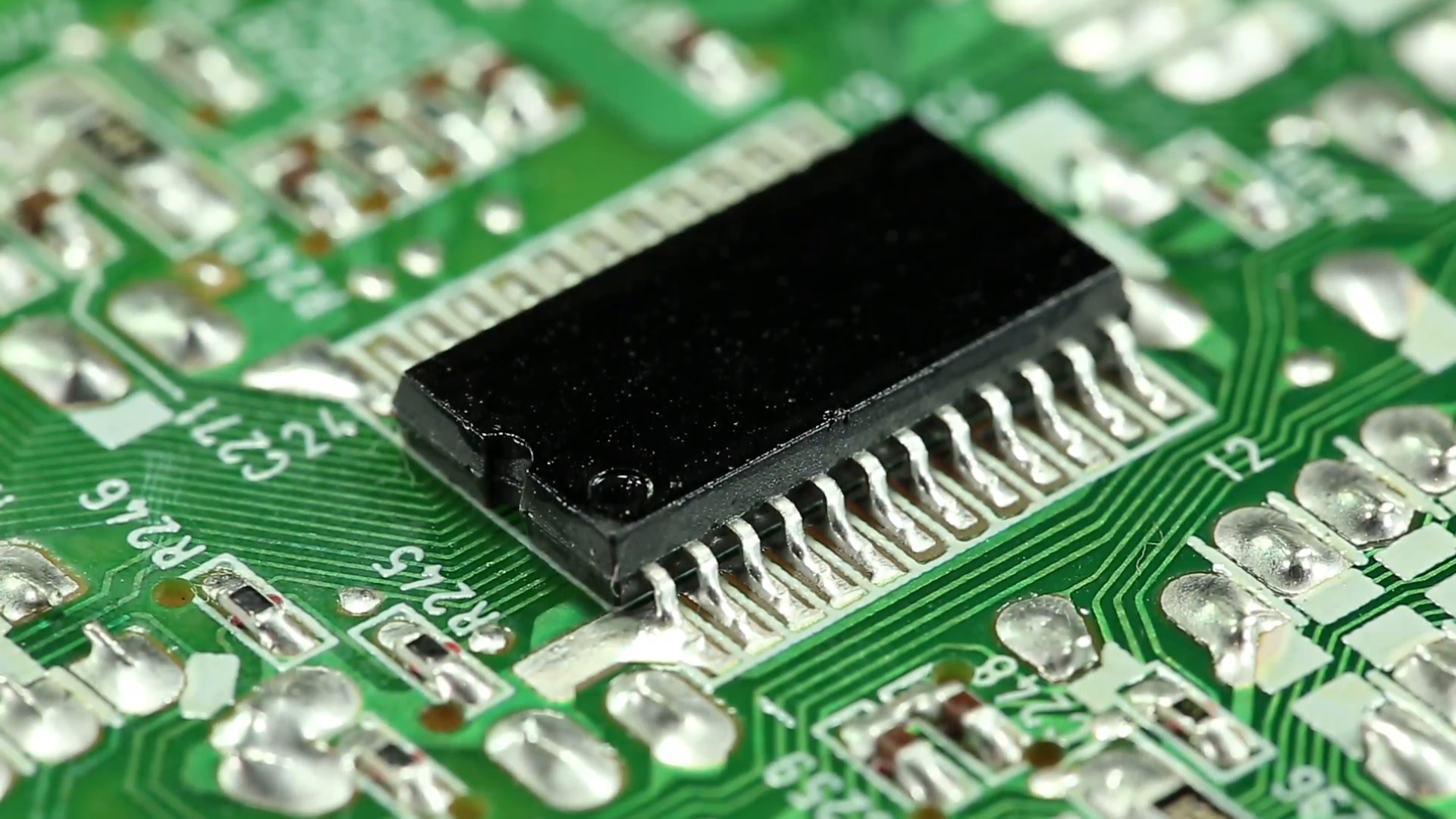 Microcircuit chip with electronic components. Close-up of micro ...