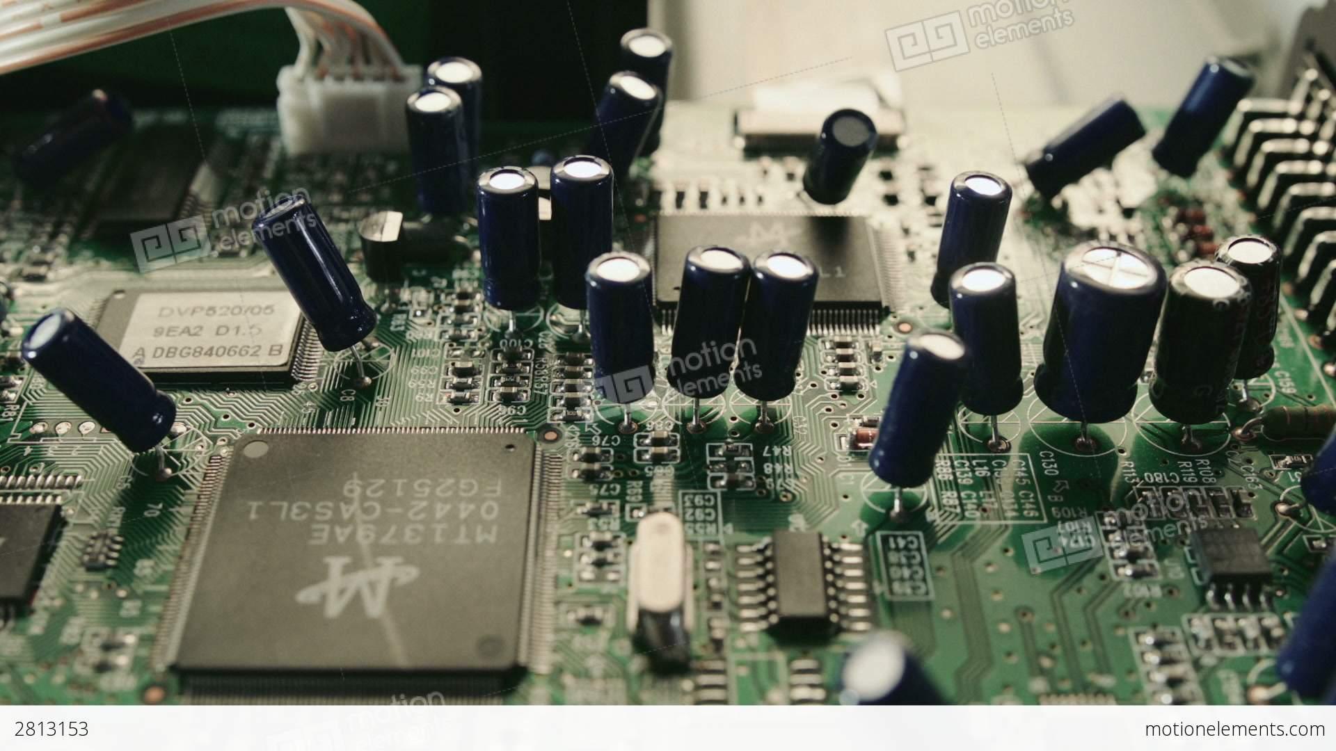 Printed Circuit Board And Transistors Close Up HD Stock video ...