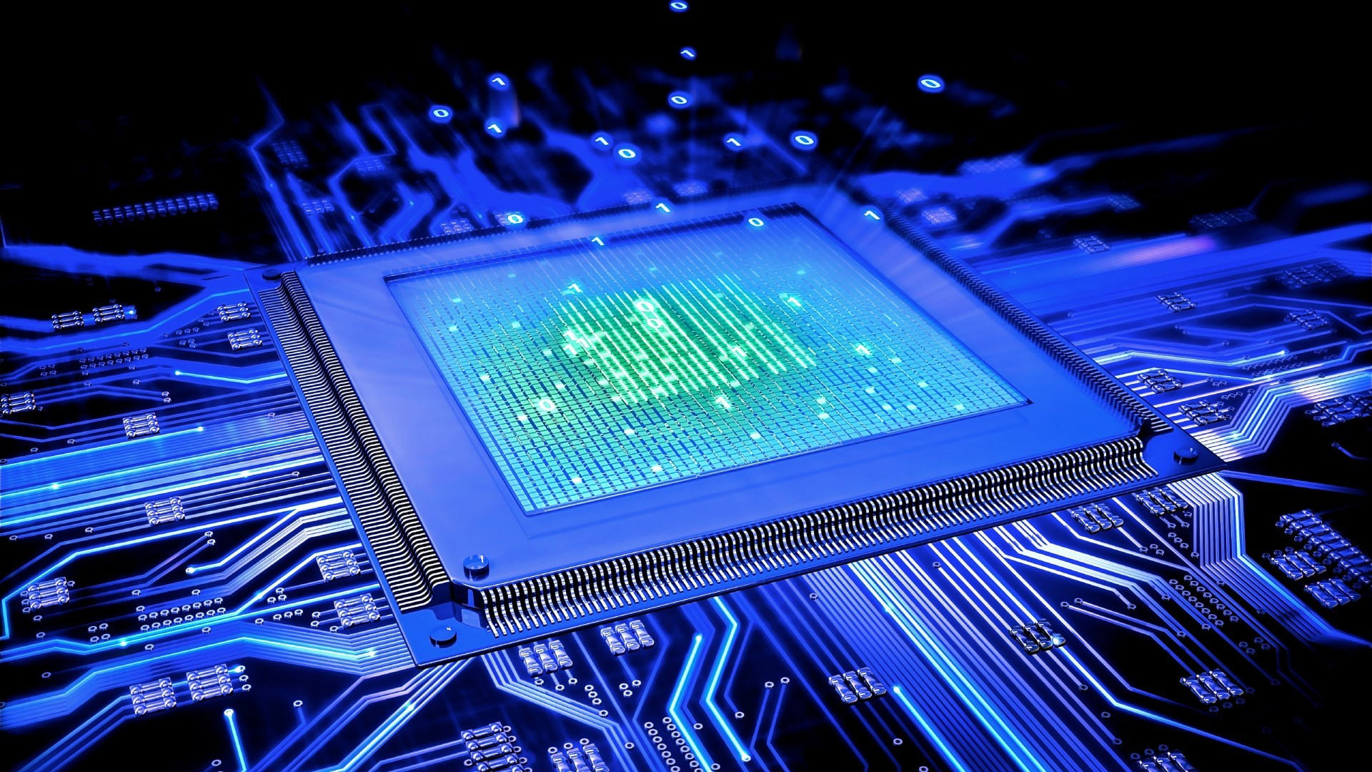 Processor CPU Motherboard Blue HD wallpaper   HD Latest Wallpapers
