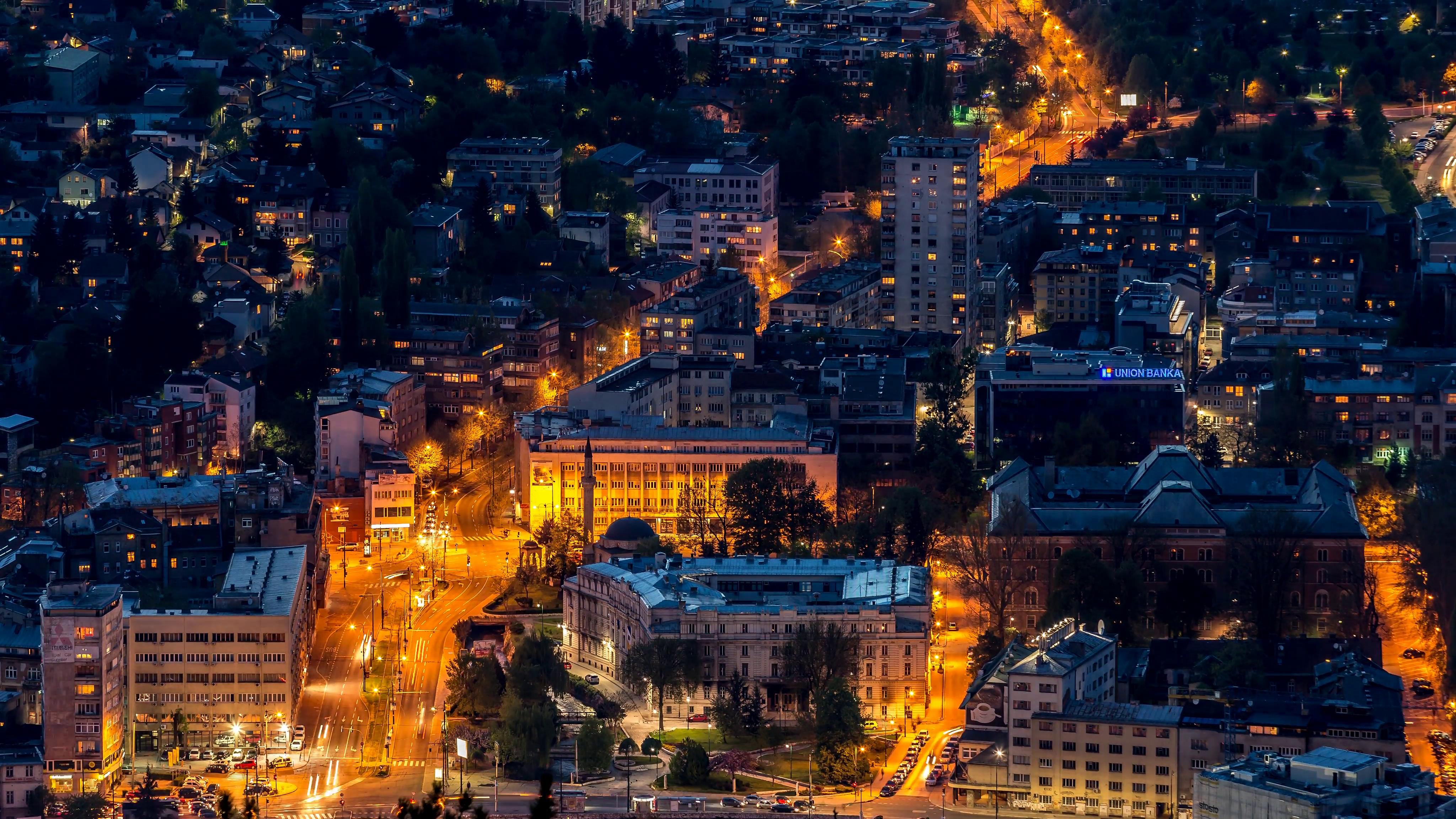 Sarajevo city at night time lapse Stock Video Footage - Videoblocks