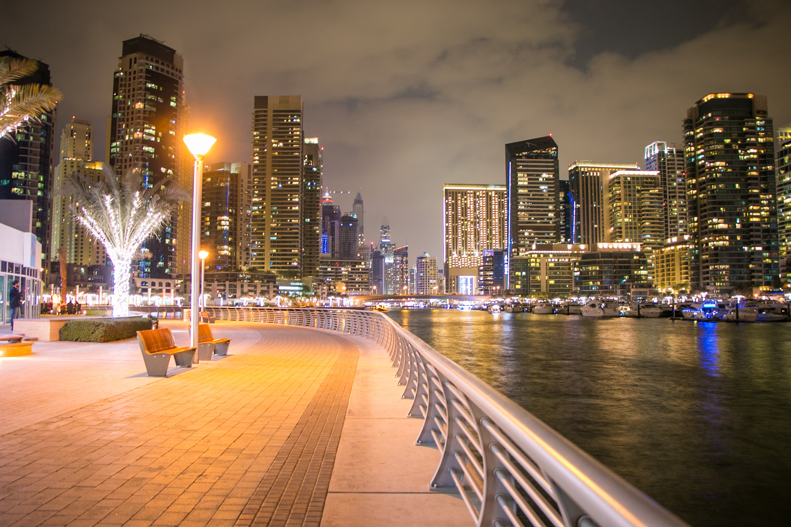 City Buildings With Lights, Metropolis, Waterfront, Watercrafts, Water, HQ Photo