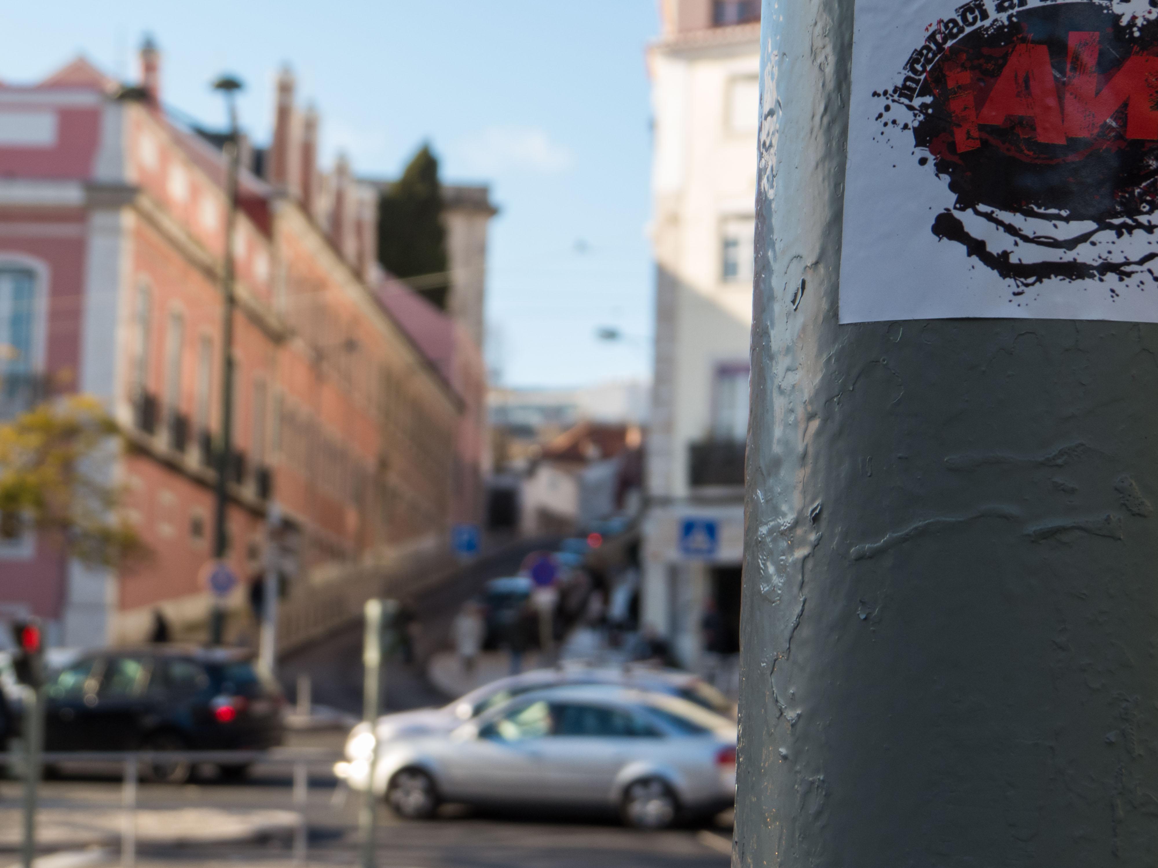 City center - stickers, post, signs, Portugal, sticker, HQ Photo