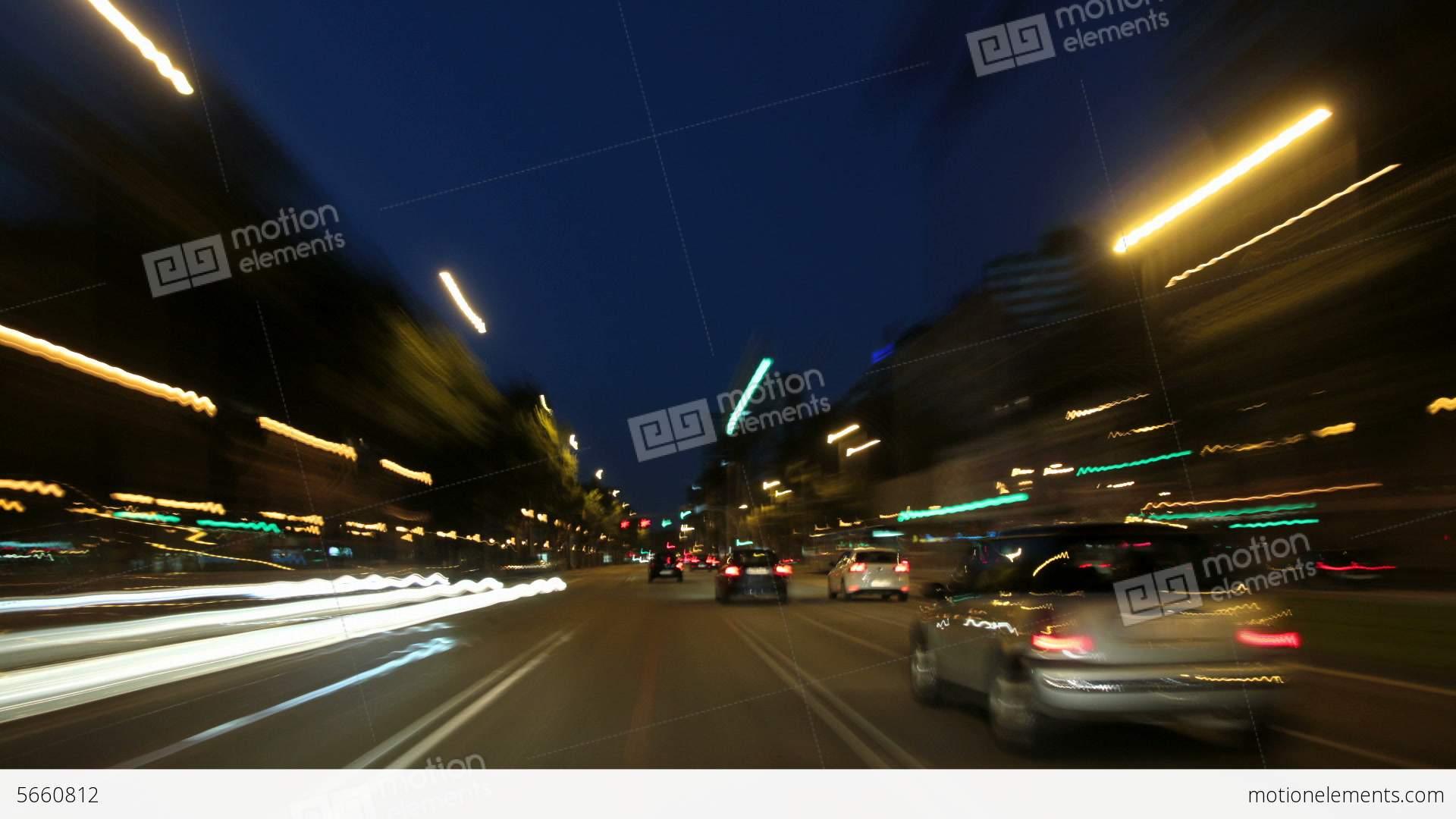 Barcelona Night City Drive Camera Car Road Rage Ti Stock video ...
