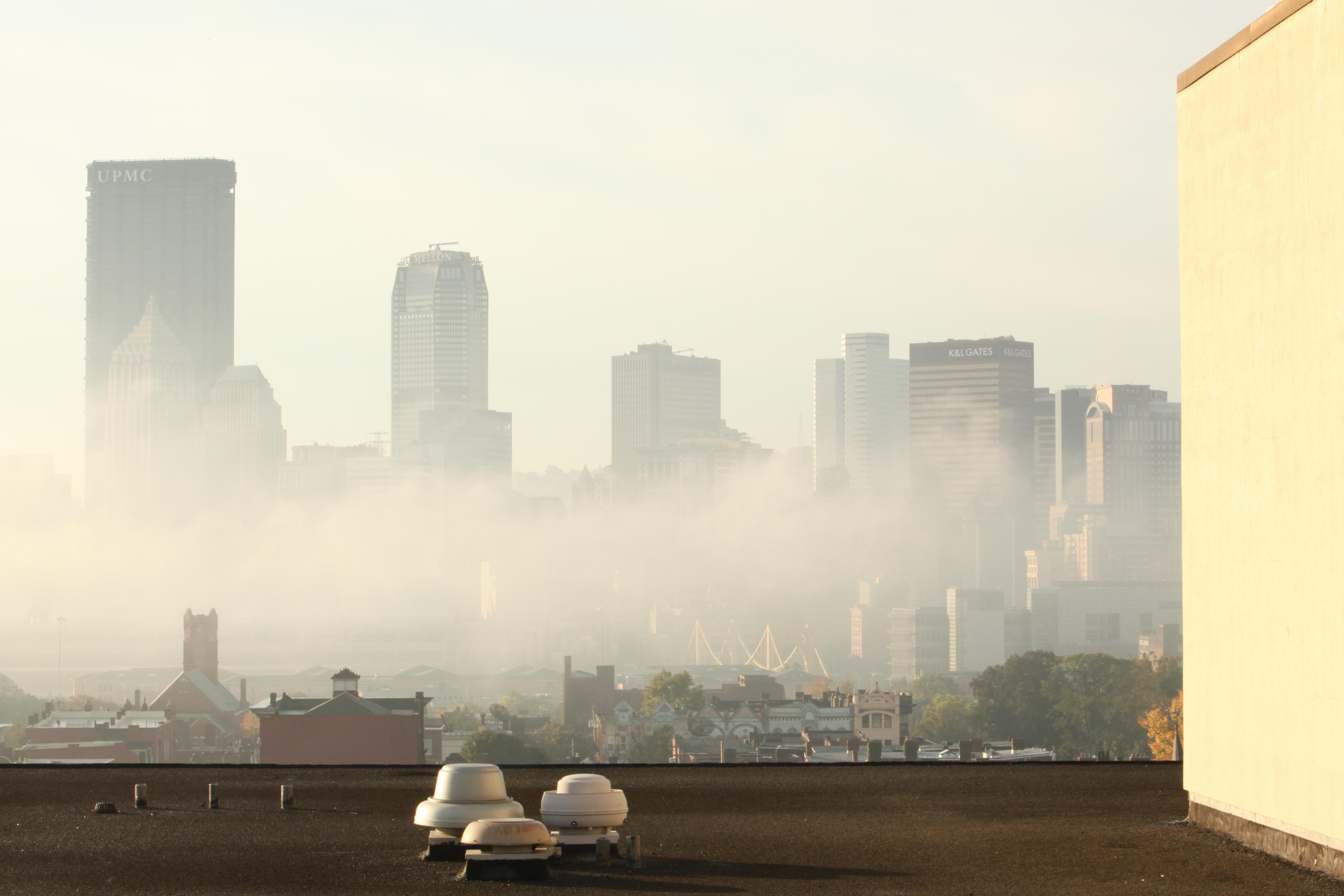 City fog scene photo