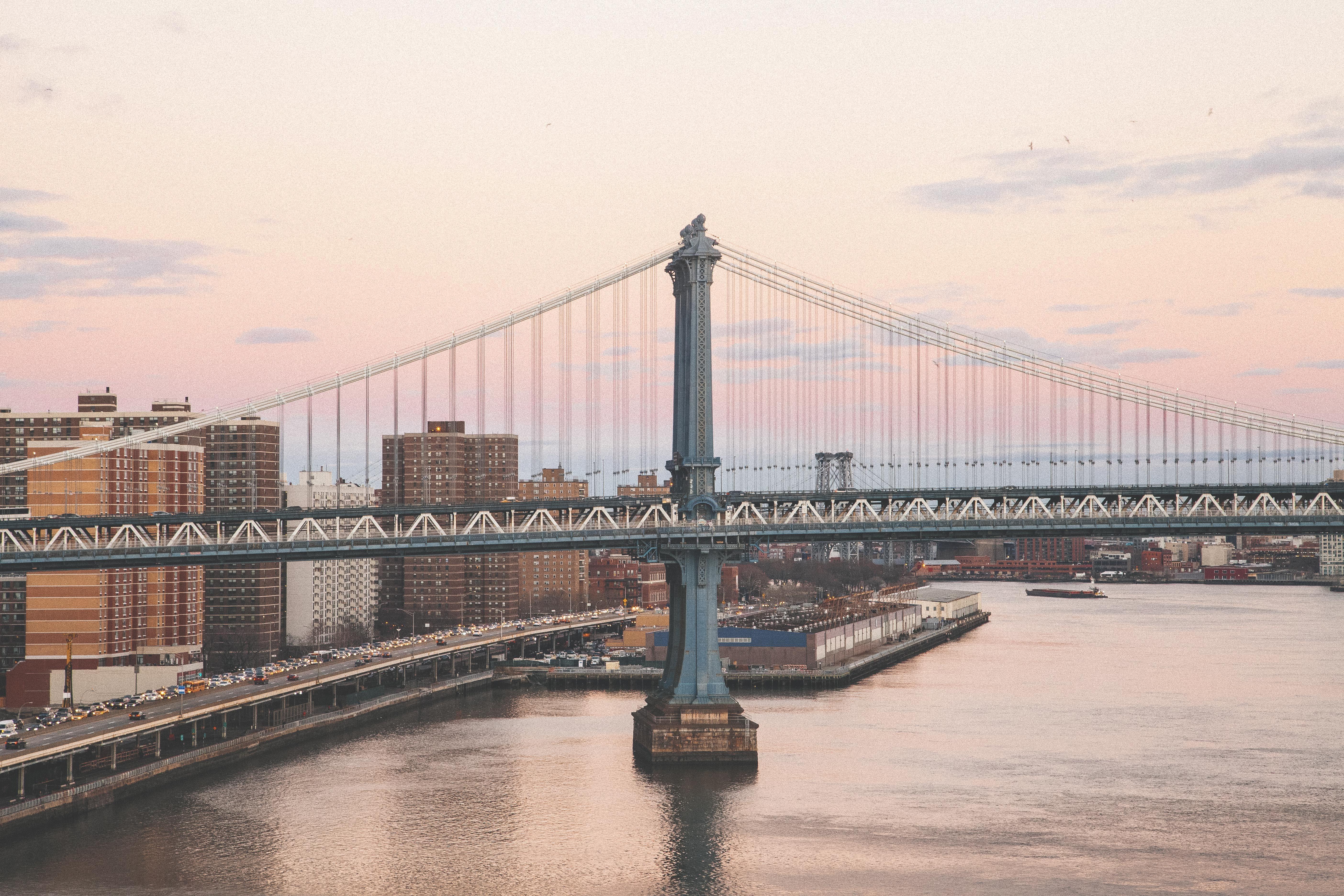 City life, Blue, Bridge, Building, City, HQ Photo
