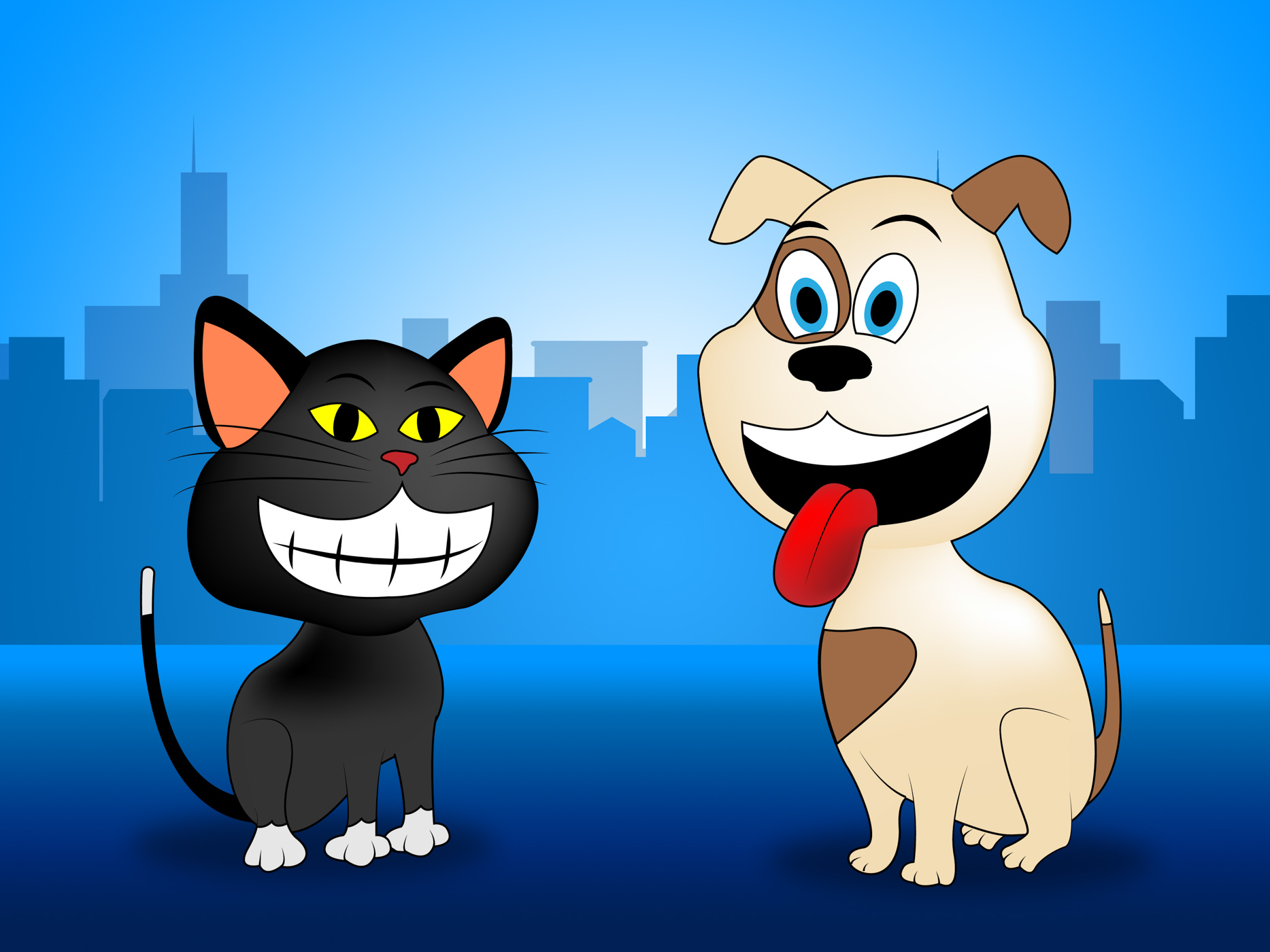 City pets indicates domestic dog cat and buildings photo